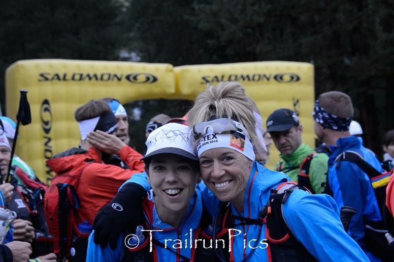2015 Gore-Tex Transalpine Run.  Typical tired look at the start, which soon is smiles at the finish!