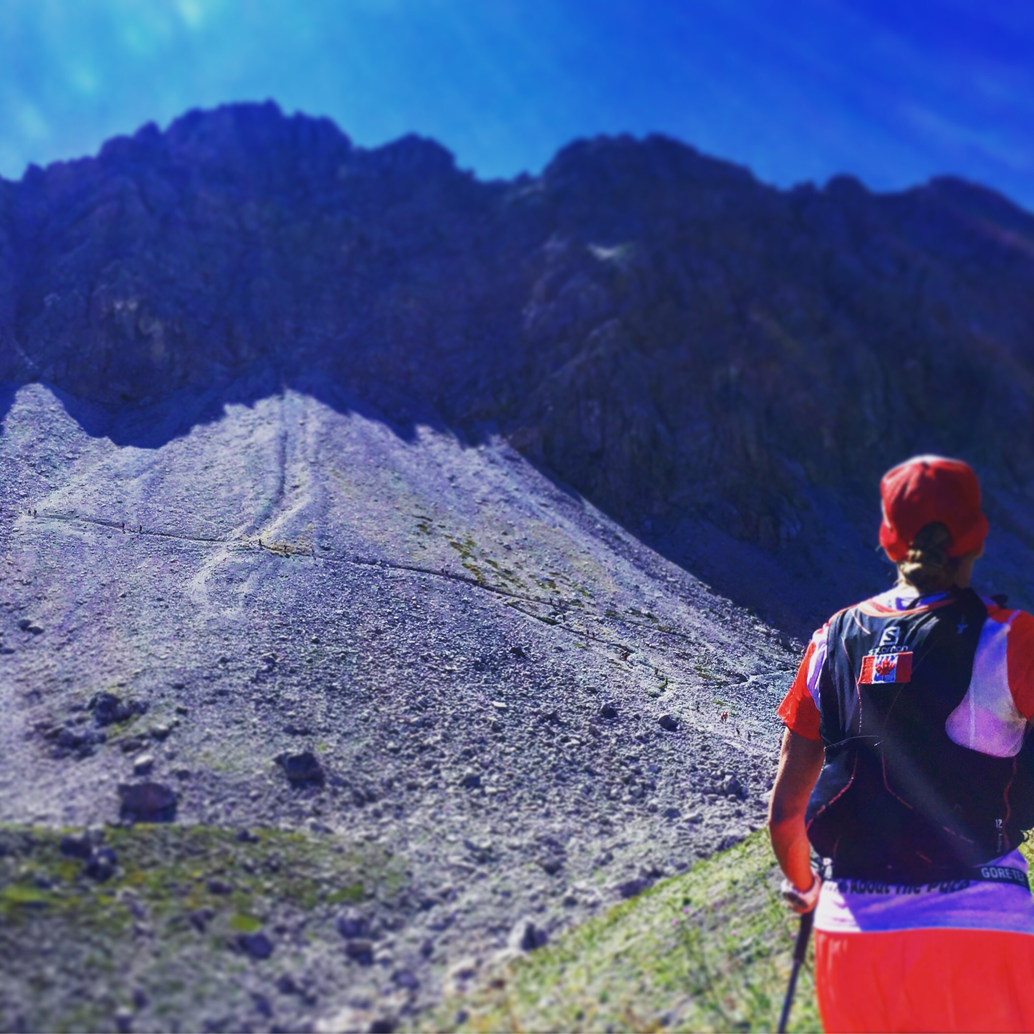 Rene checks out our climb...