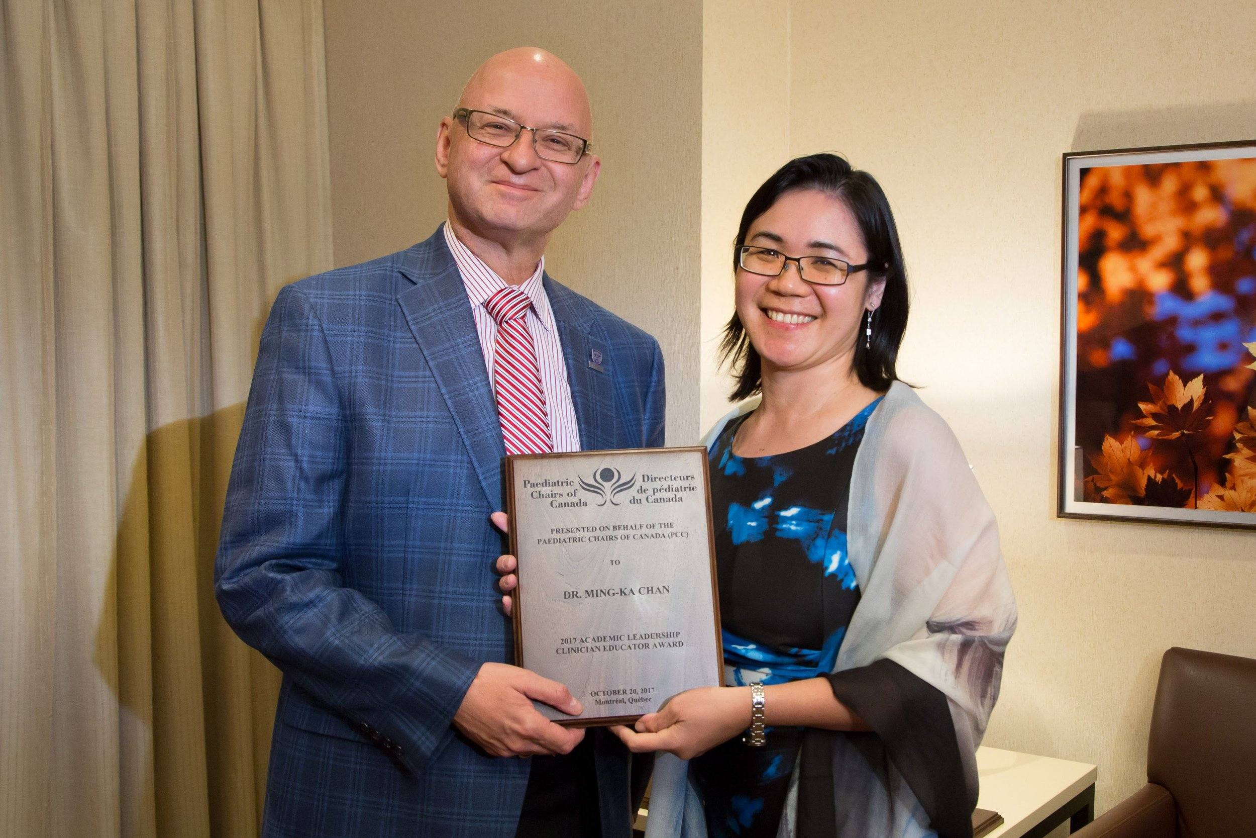 Dr. Michael Rieder (University of Western Ontario on behalf of Dr. Terry Klassen, University of Manitoba) and Dr. Ming-Ka Chan (Clinician Educator - University of Manitoba).