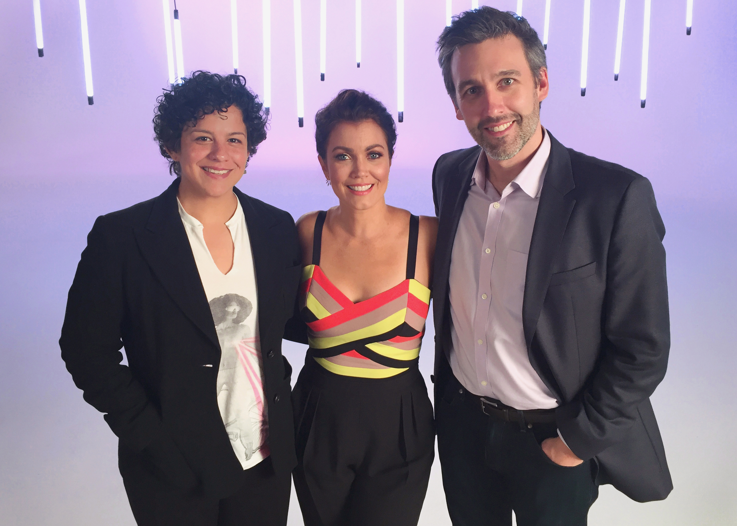 """Executive Producers Karla Hidalgo and Christopher Martin on set with  Scandal  ' s Bellamy Young for """"People's Sexiest Man Alive 2015: 30 Years of Sexy."""" The special airs November 18th, at 9/8c on  Lifetime."""