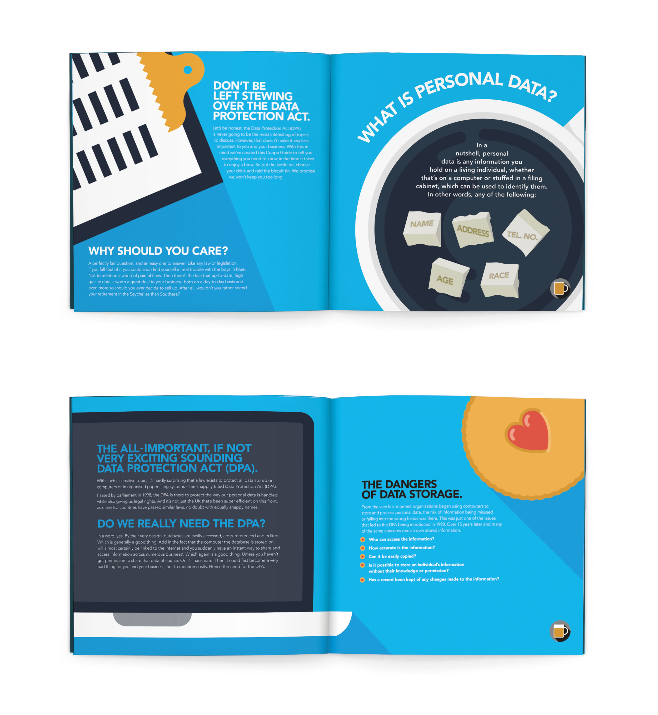 Brochures. Concept. Design. Art direction.    To make complicated information easy (and enjoyable) to digest, we created 'The Cuppa Guides.' An easy way to engage and inform staff, in the time it takes to have a cup of tea.  Commissioned at Connect.  connect-group.com