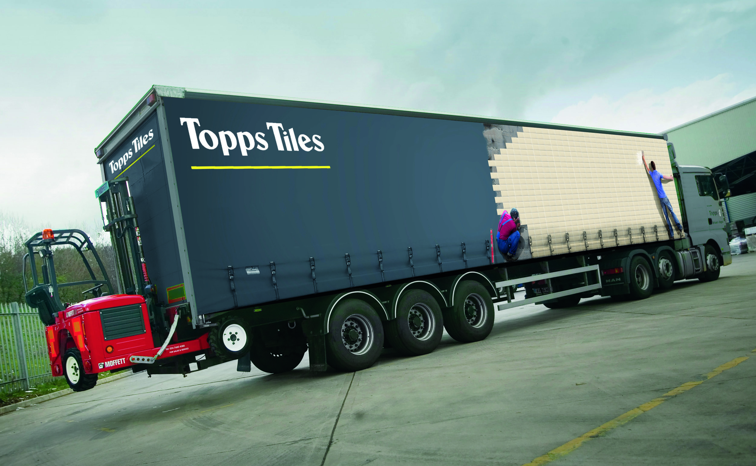 Truck Livery. Concept. Design. Art direction. Retouching.   When Topps Tiles wanted new vehicle liveries, I decided to tile the truck, turning each side into a canvas on which to display their best products. By using scale product and tradesmen, I created an unforgettable 'tiling on the move' visual that was adaptable and as varied as their stock.  Commissioned at Makalu.   www.makaluagency.co.uk
