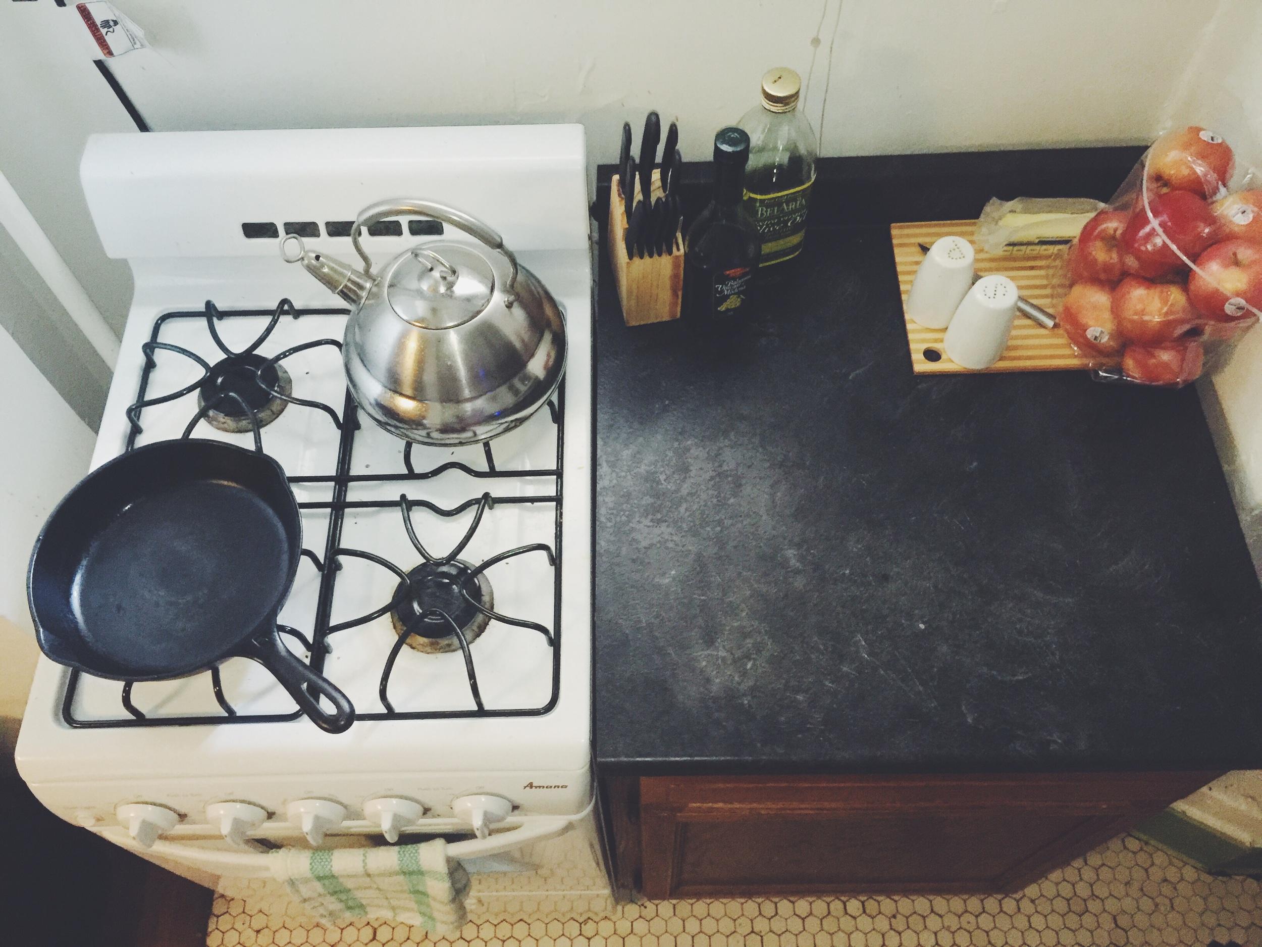 stove + countertop