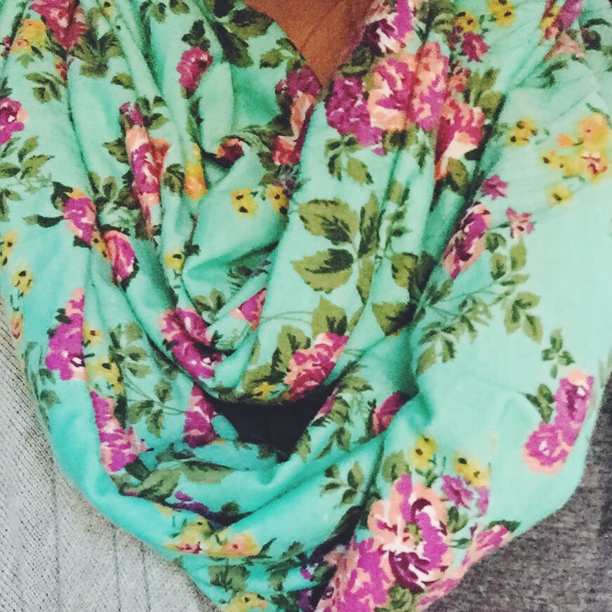 ruffle couture floral scarf
