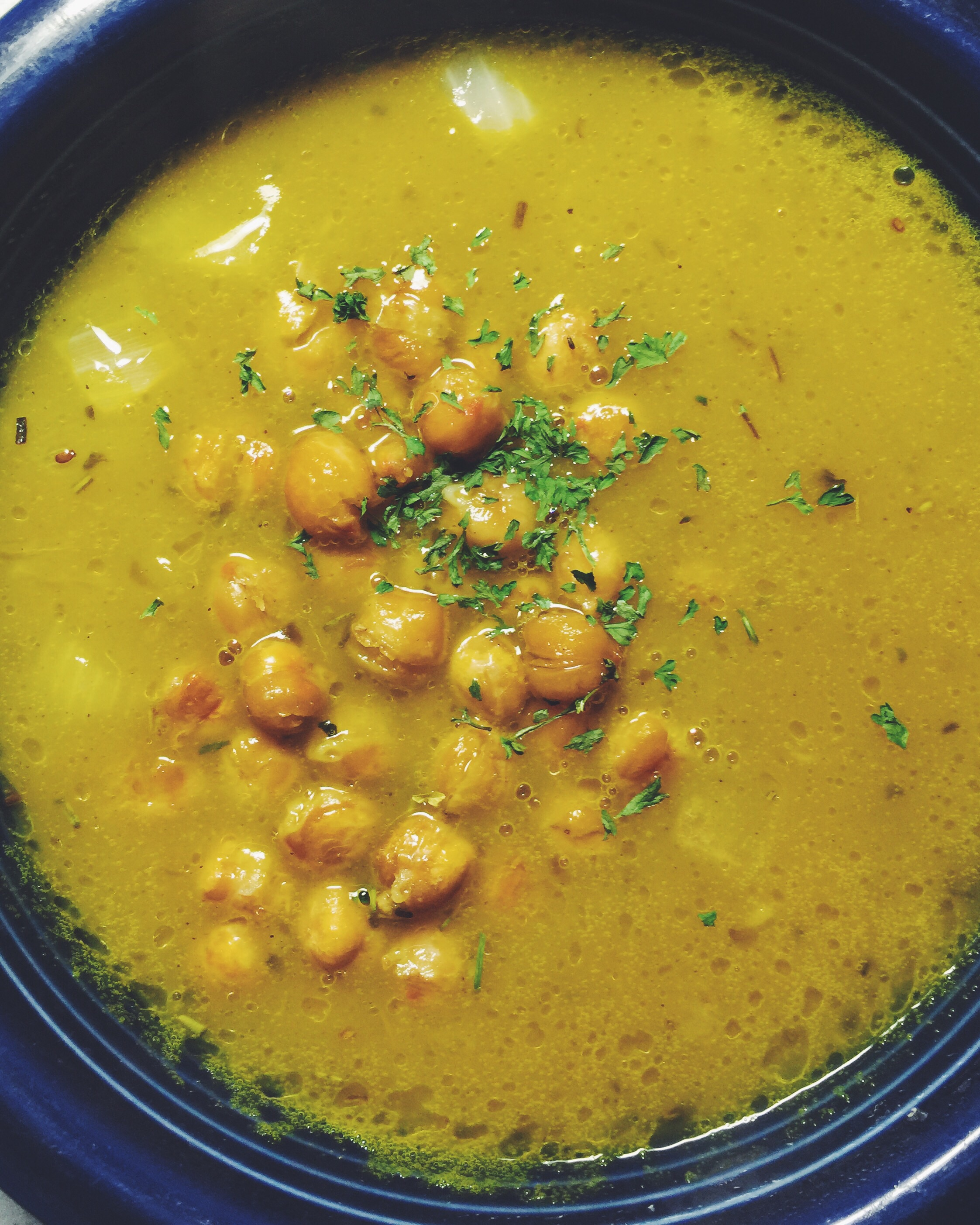 semi-homemade butternut squash soup with roasted chickpeas