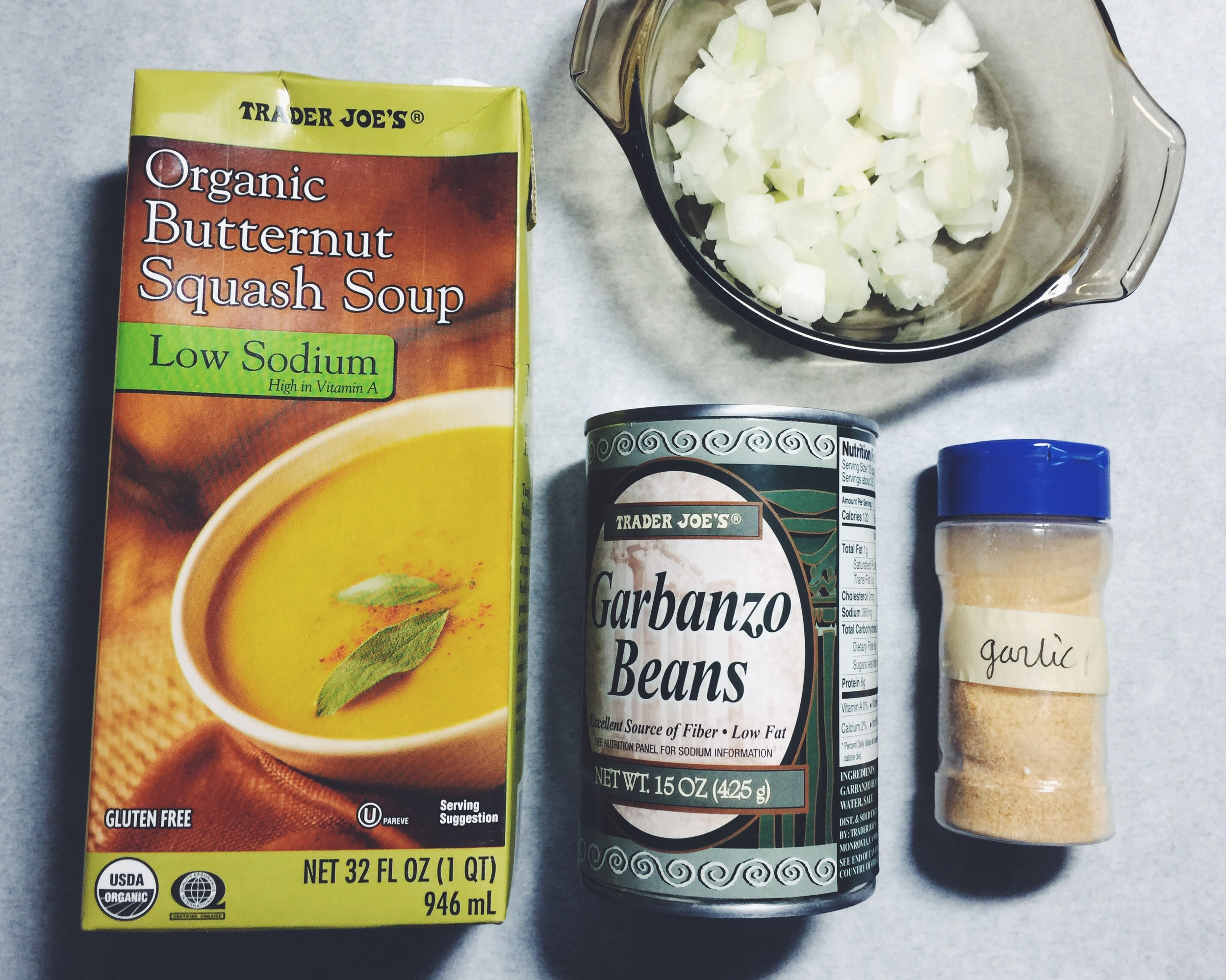 ingredients for semi-homemade butternut squash soup