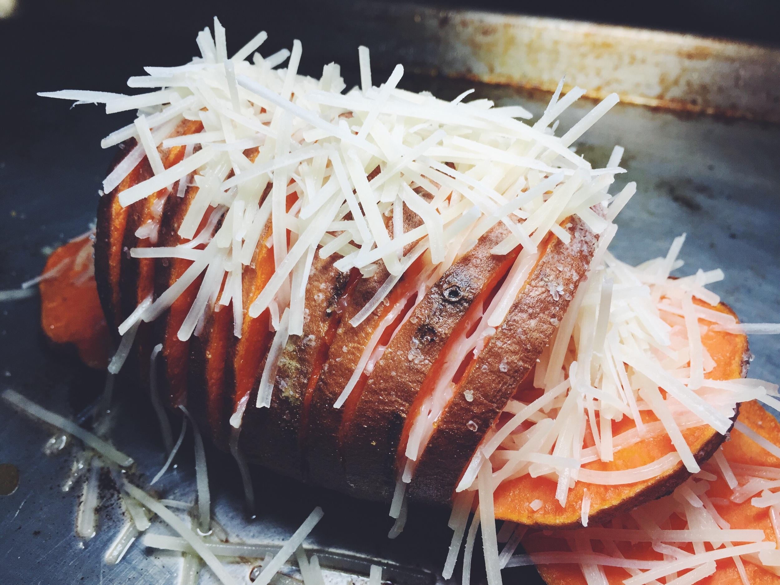 parmesan stuffed hasselback sweet potato