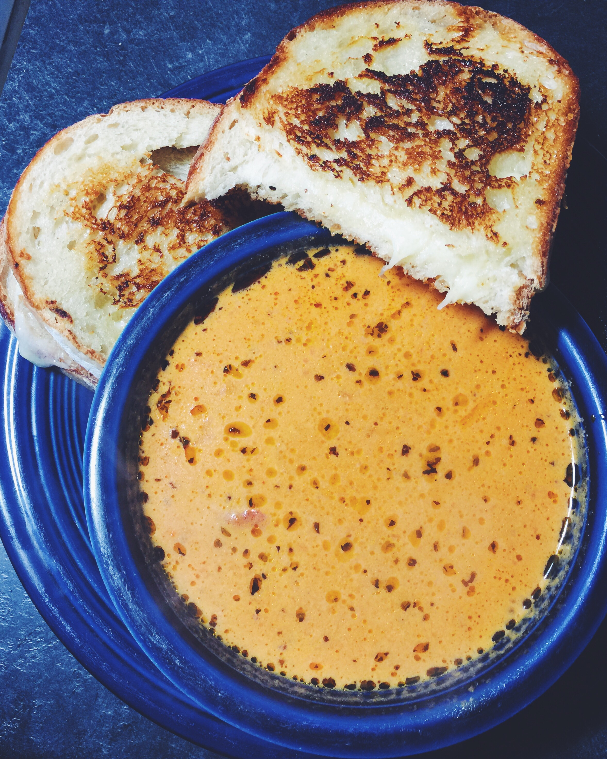 gruyere grilled cheese and tomato basil bisque