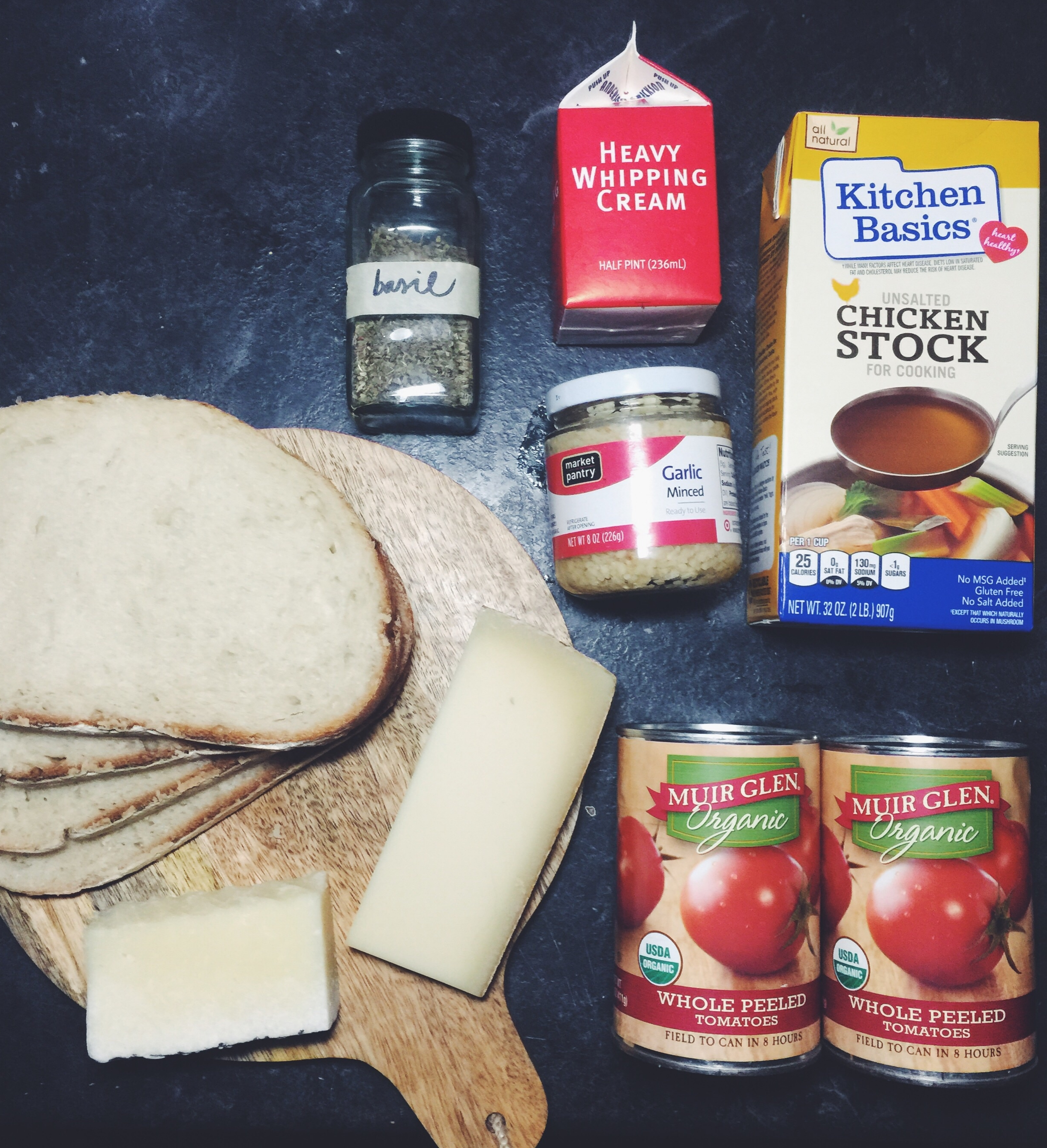 grilled cheese + tomato soup ingredients