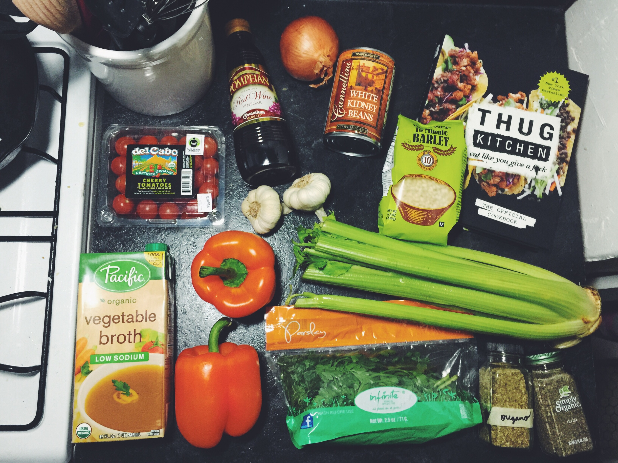 ingredients for barley-stuffed peppers