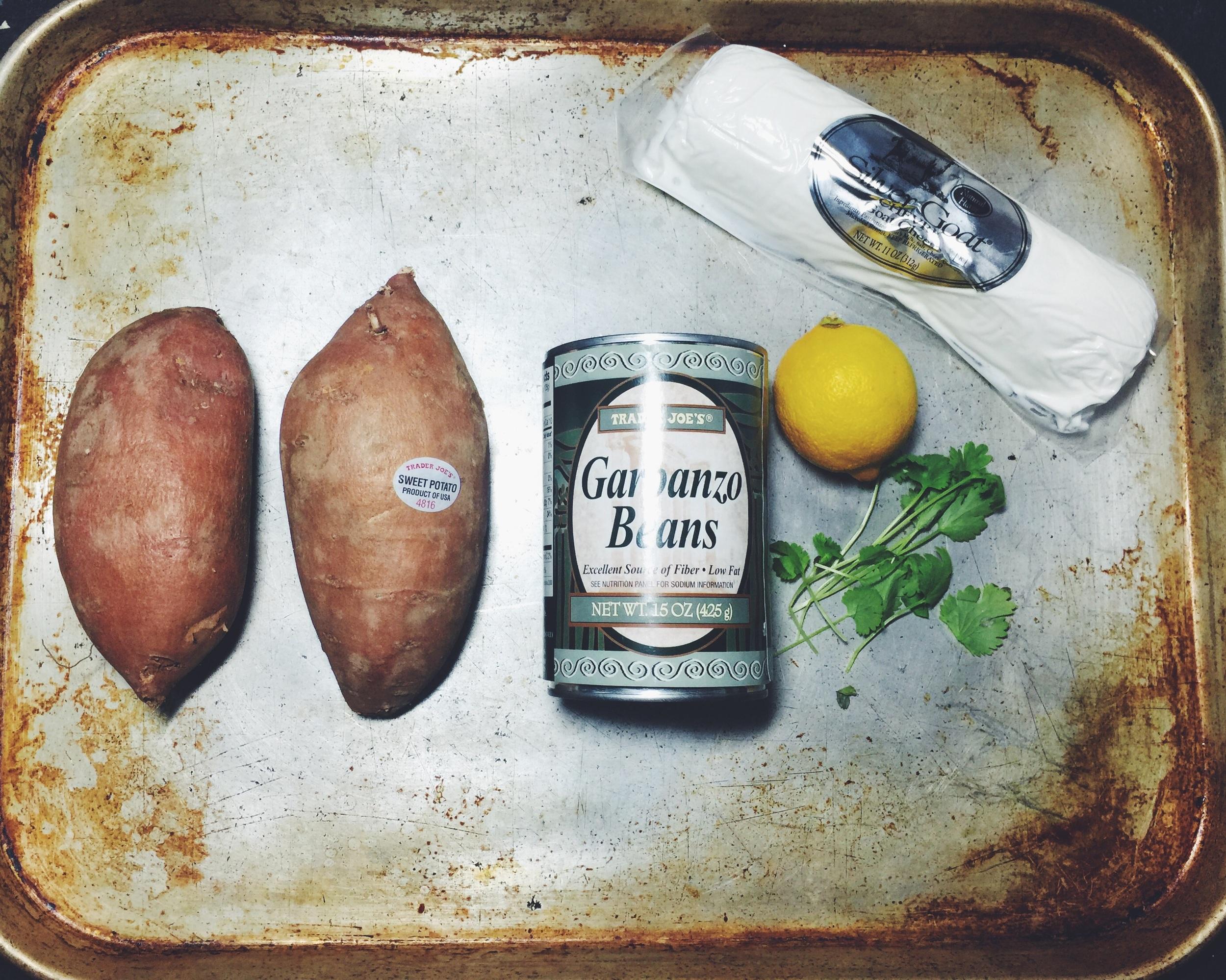 sweet potato, chickpeas, goat cheese, cilantro, and lemon