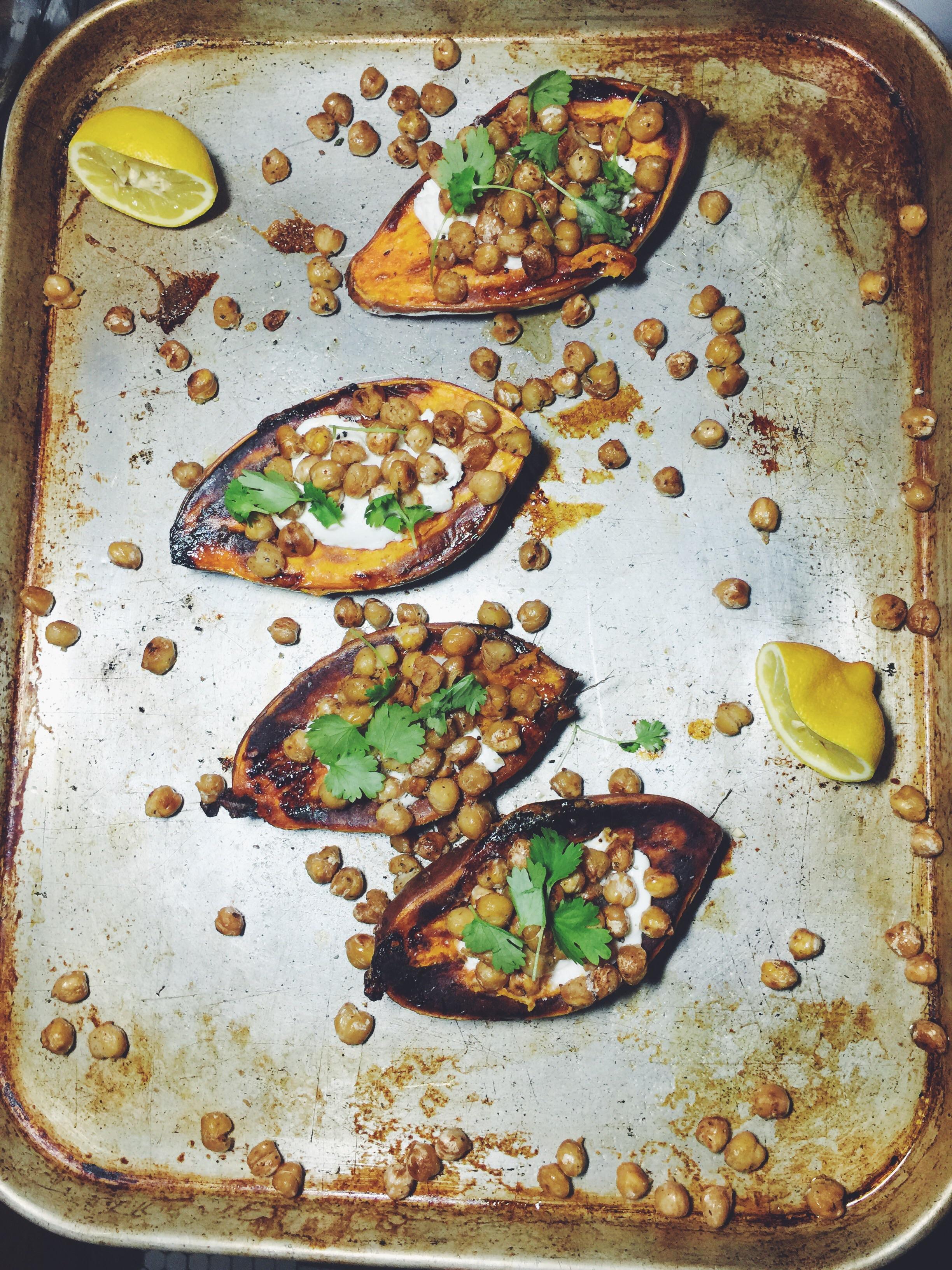 sweet potatoes on sheet pan