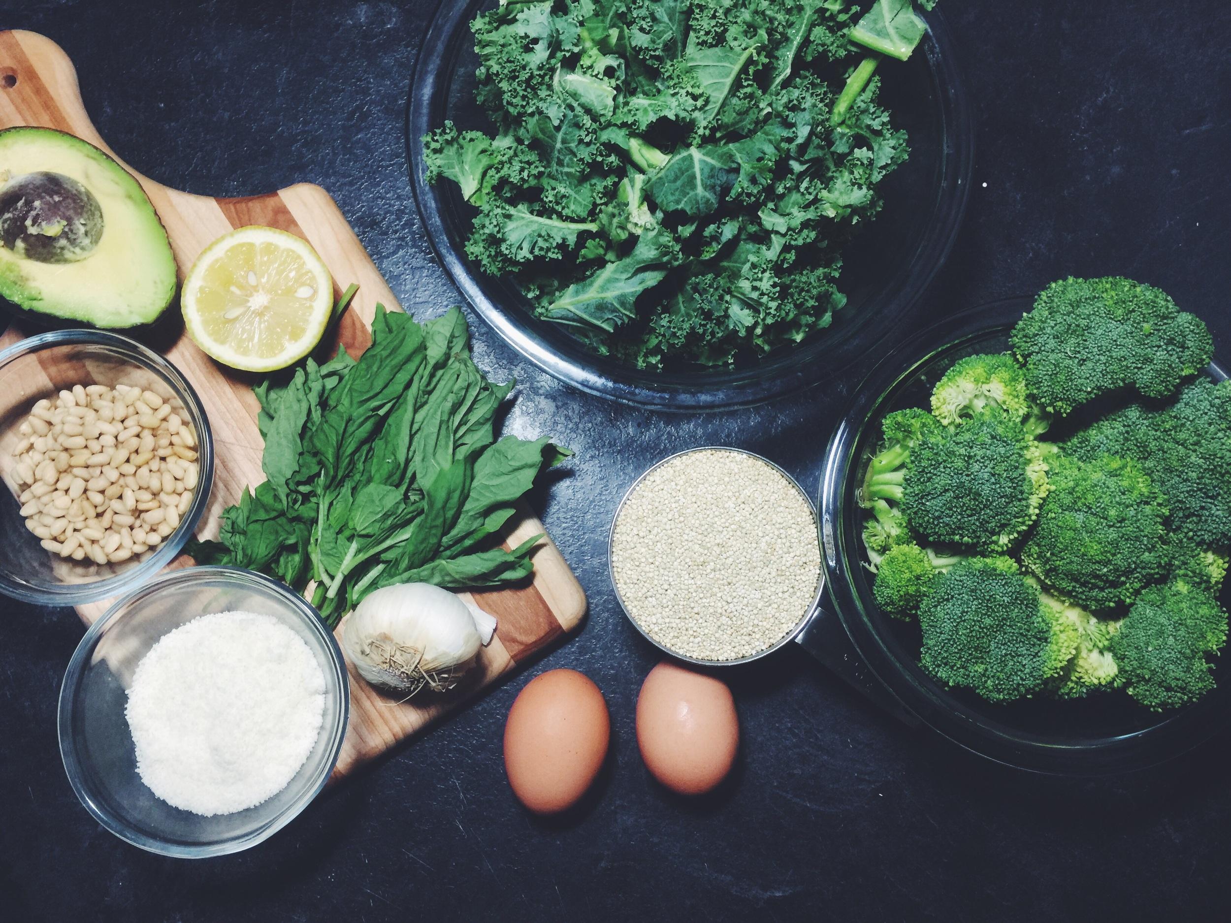 power bowl + avocado pesto ingredients