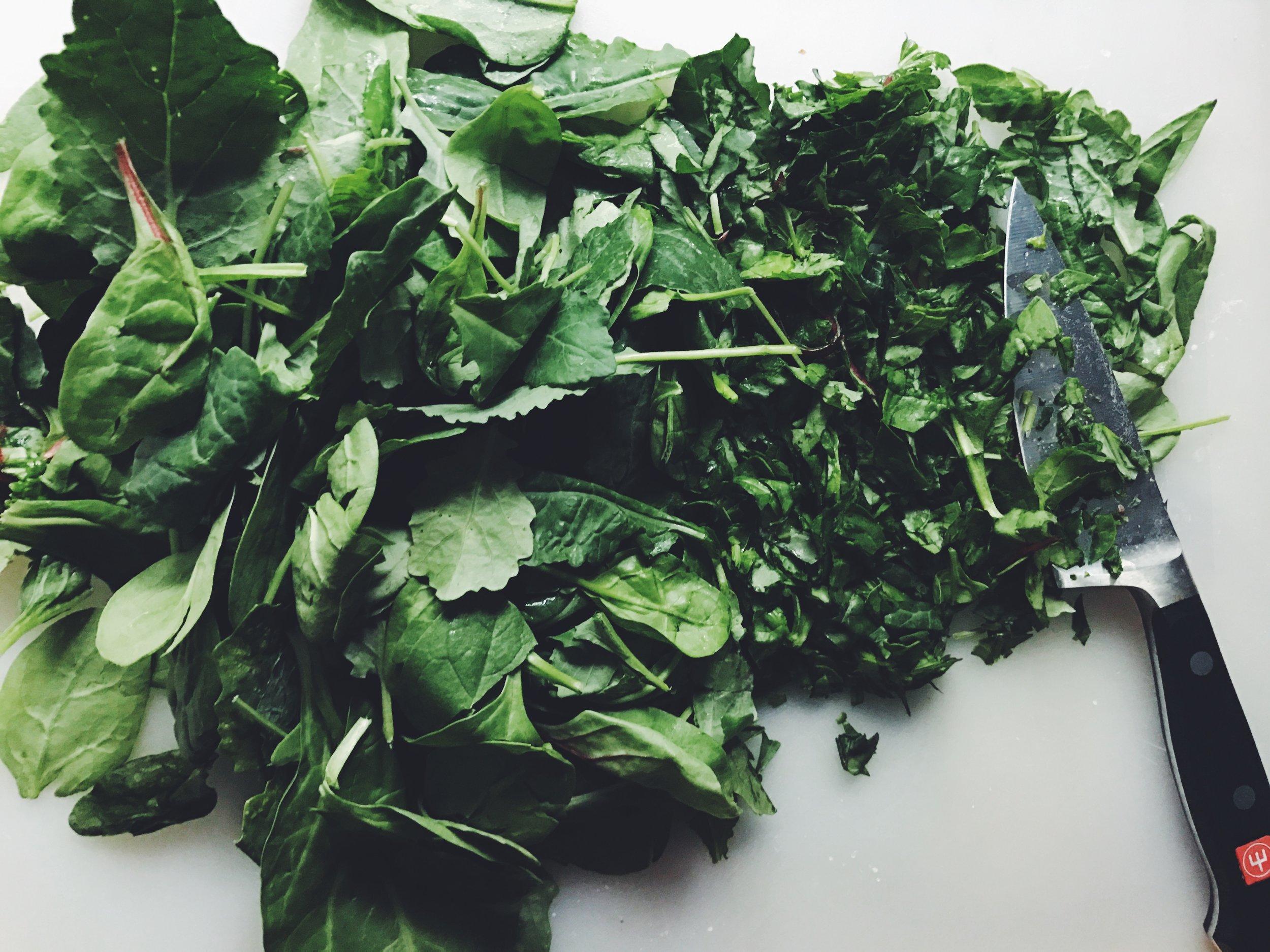 shredding kale