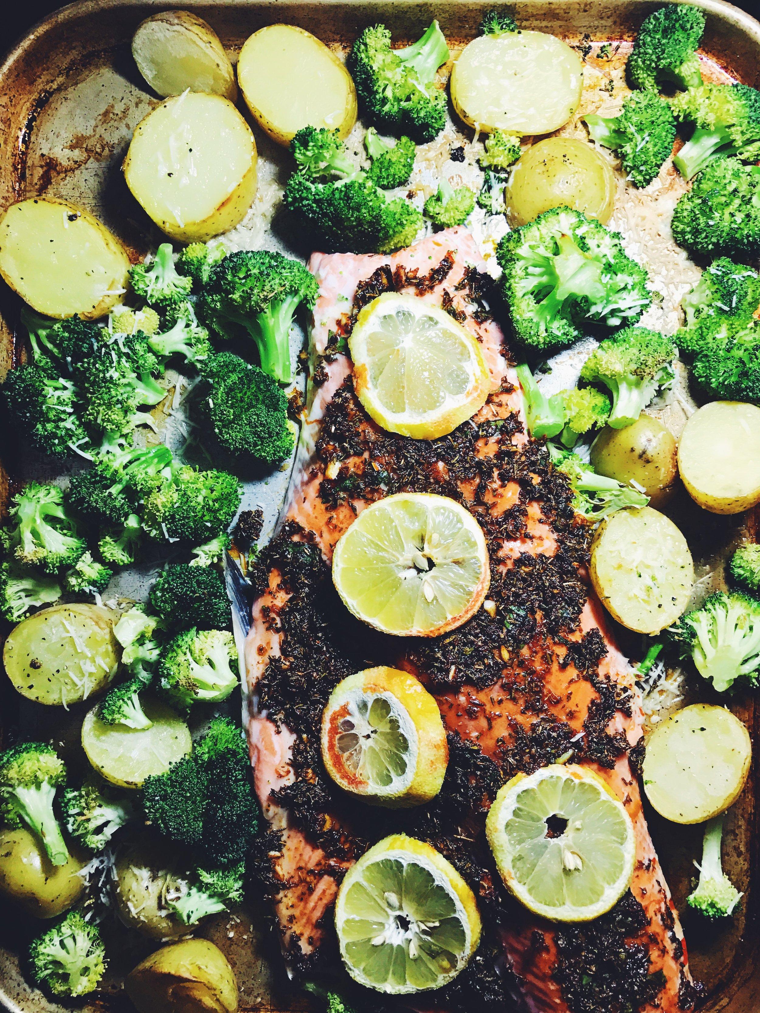 lemon-roasted salmon with broccoli and potatoes