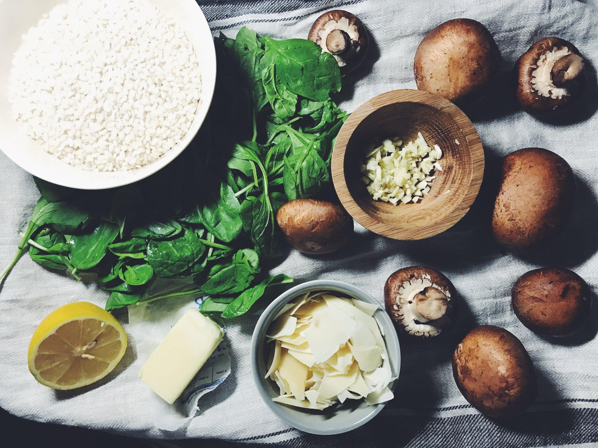 garlic butter mushroom risotto ingredients
