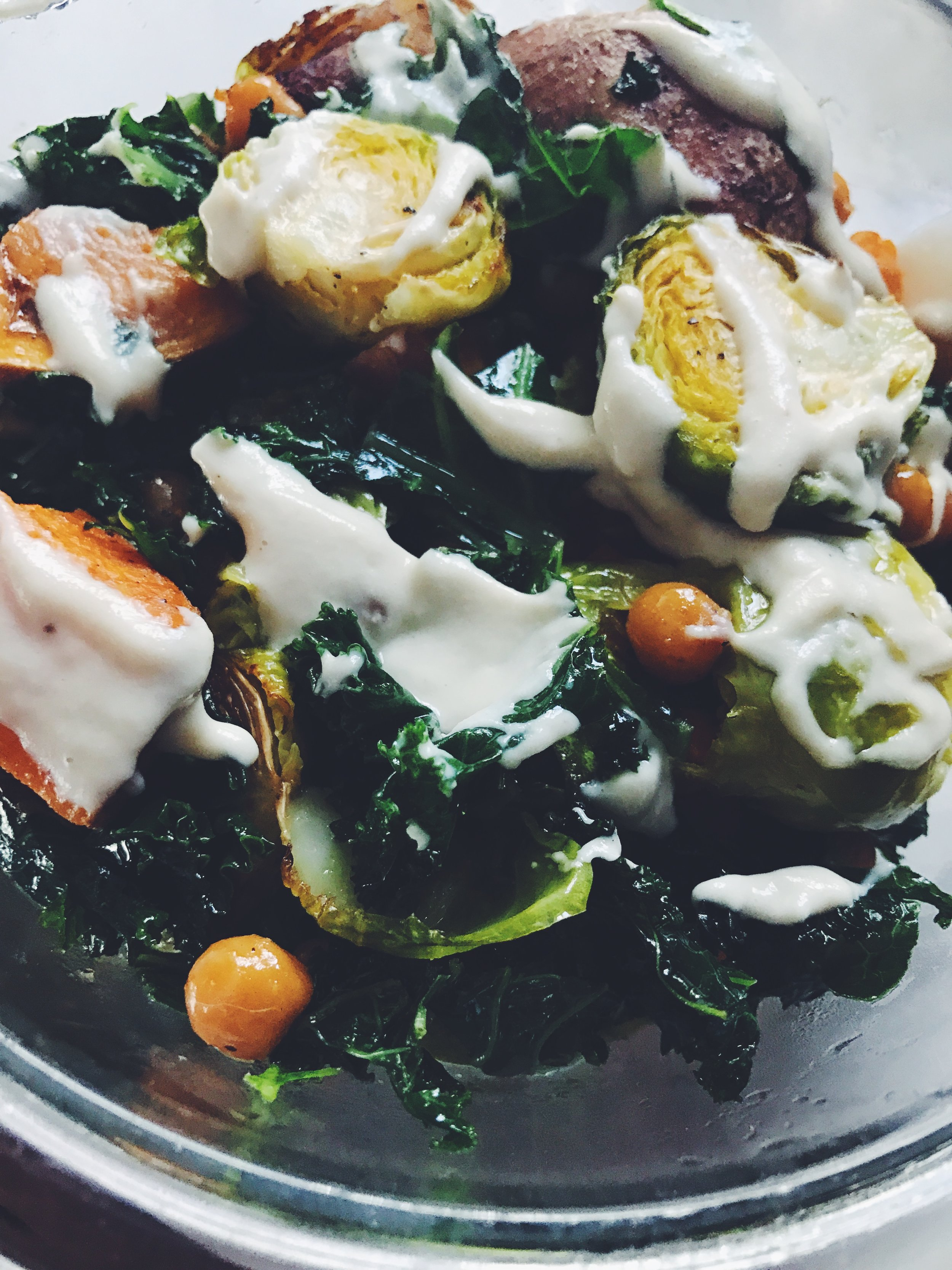 brussels sprout sweet potato bowls