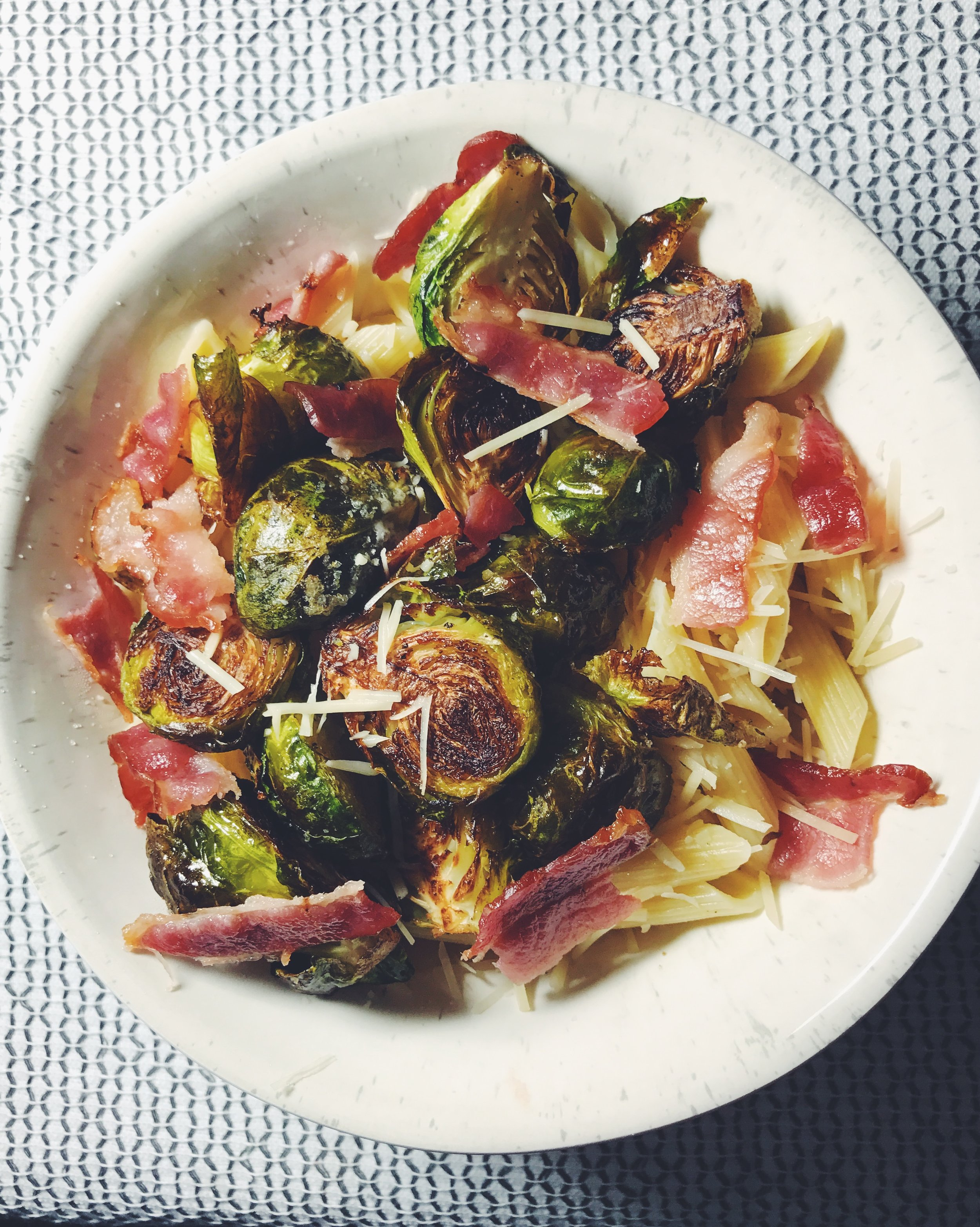 pasta with brussels sprouts bacon and parm