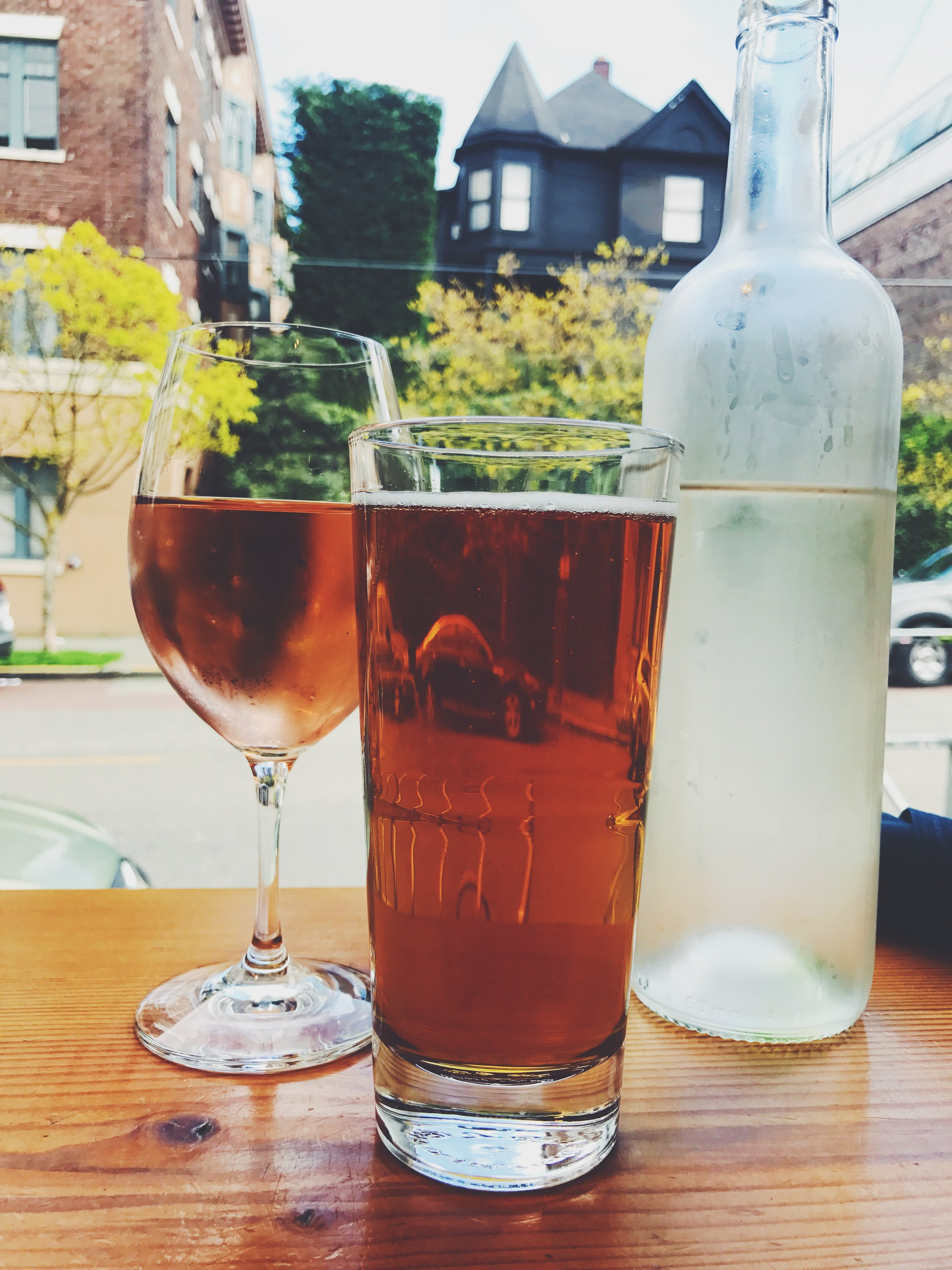 rosé and beer