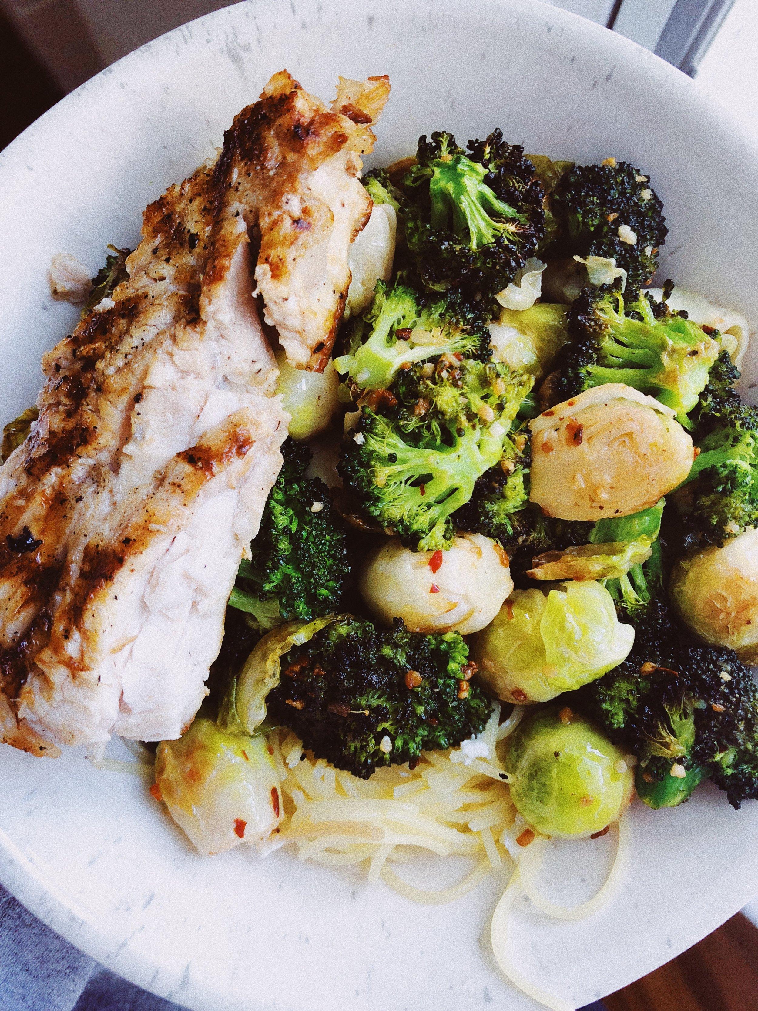 swordfish and veggies