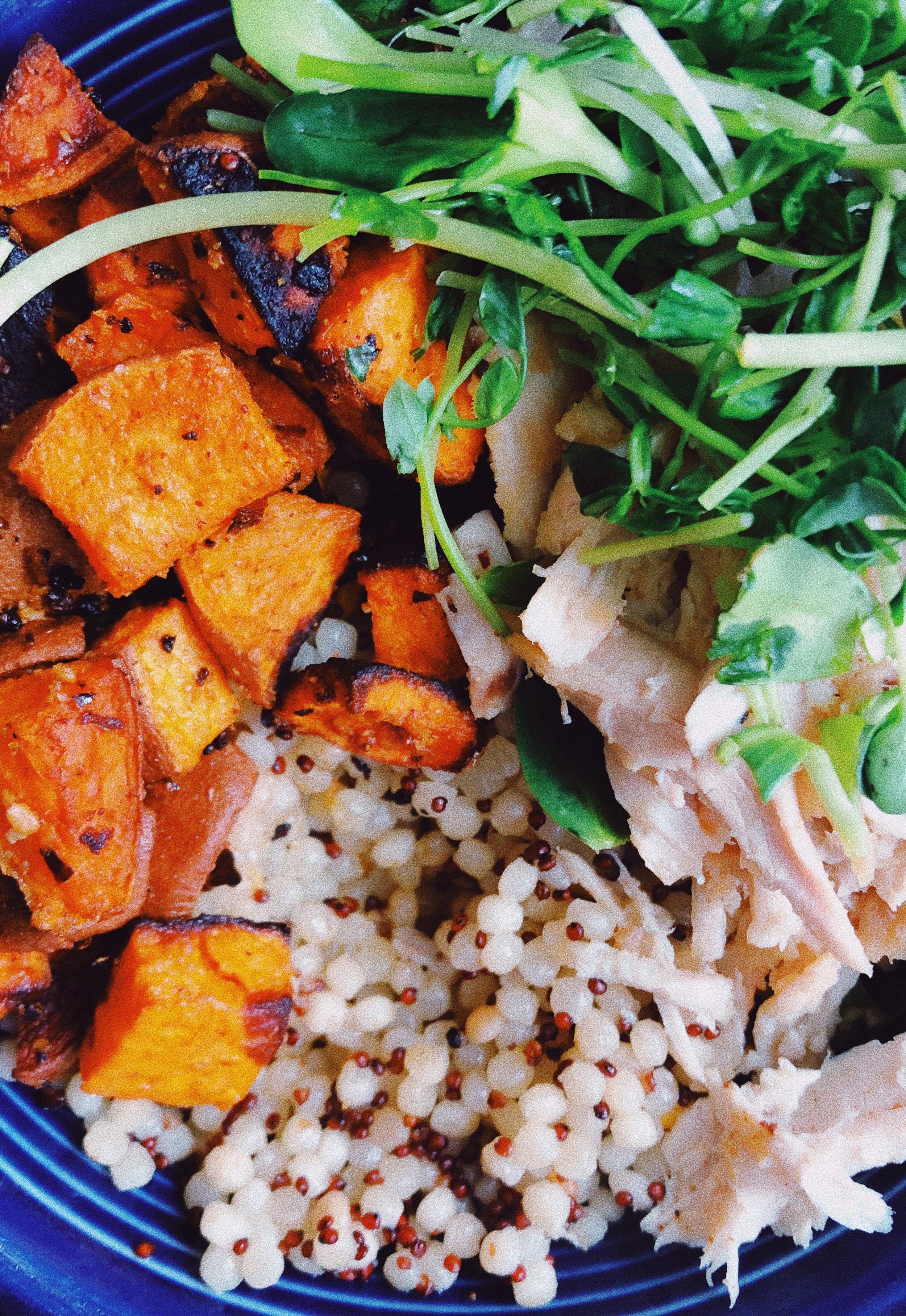 chicken sweet potato power bowls