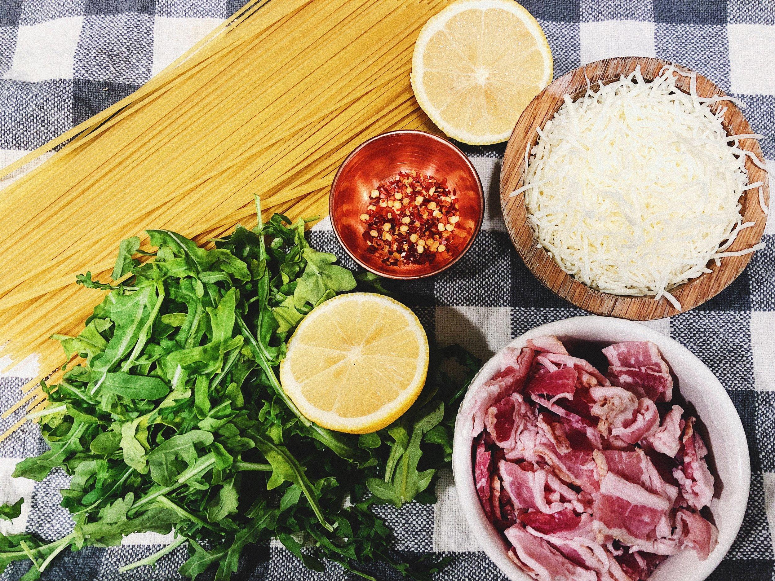 lemony arugula cacio e pepe ingredients