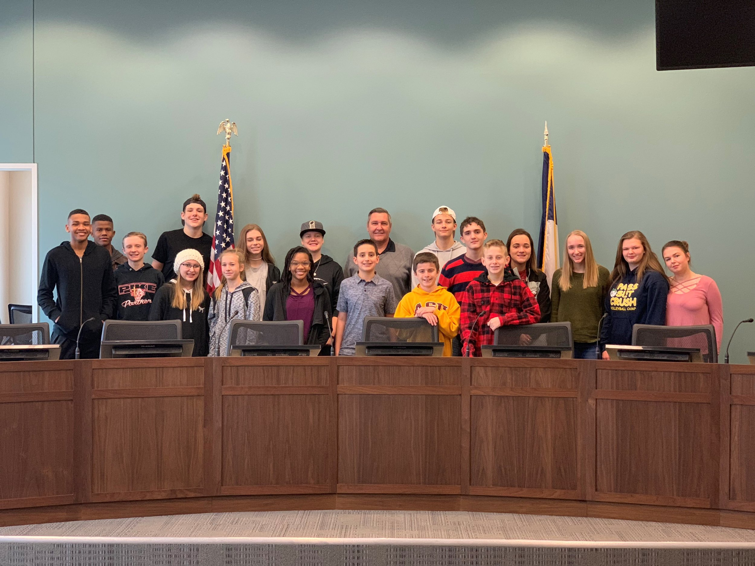 Northlake Mayor Pete Dewing and the 2019 Teen Council