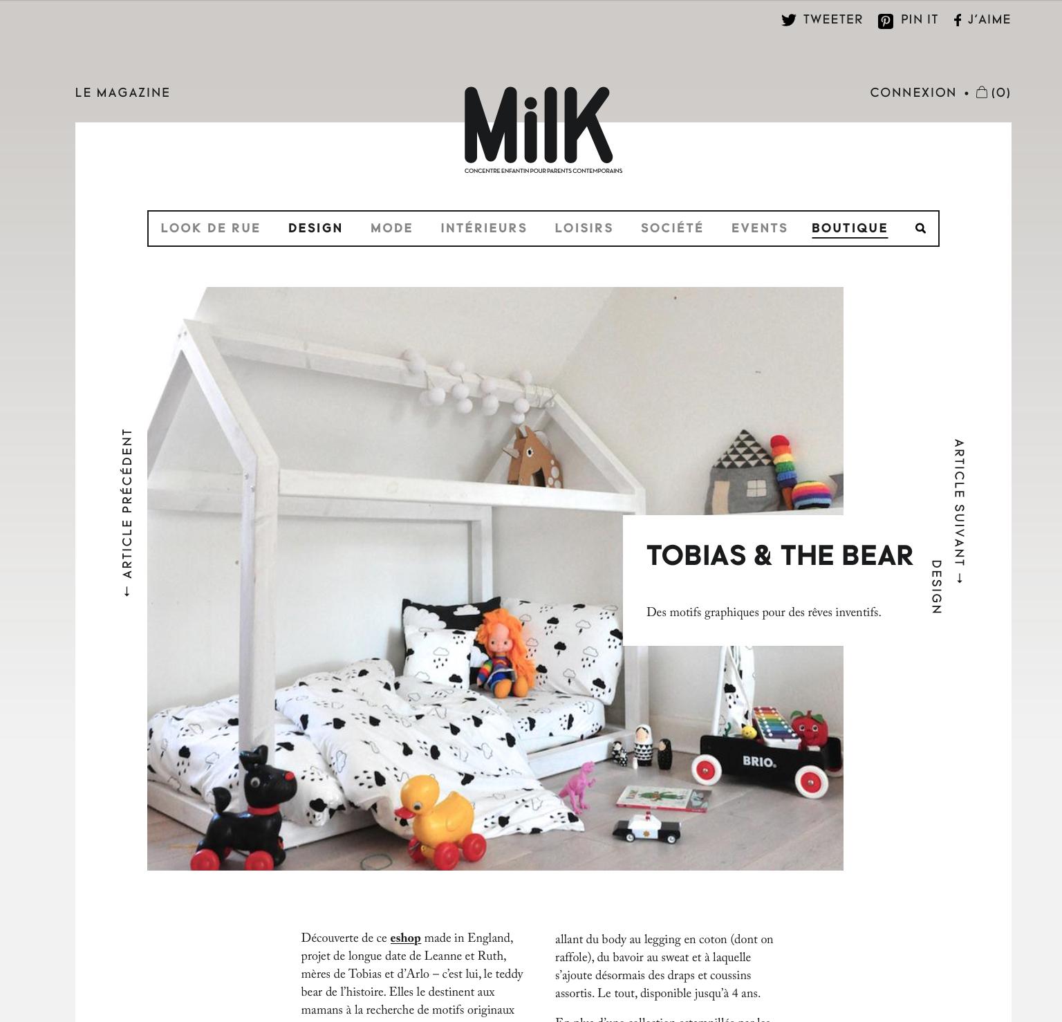 Milk features Tobias & The Bear
