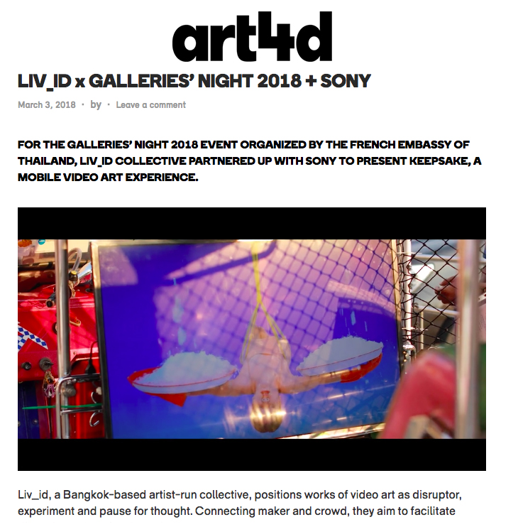 Liv_ID Galleries' Night 2018, Art4D, Bangkok, Thailand, March 2, 2018.