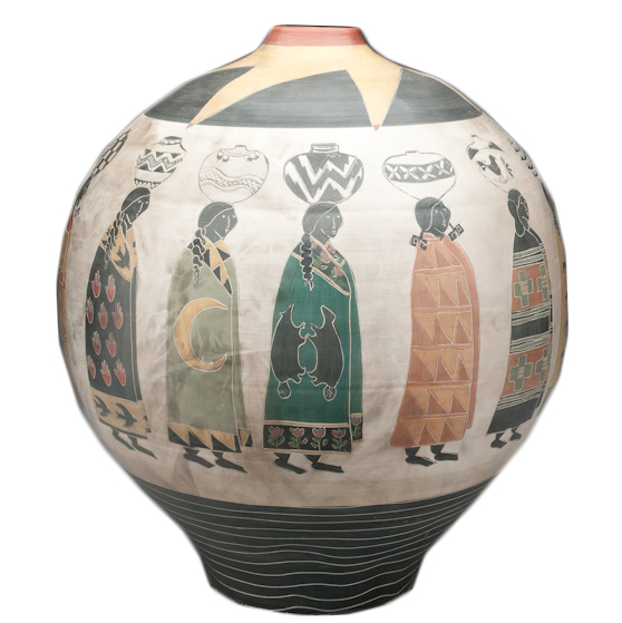 "Melissa Greene   Thrown earthenware, burnished terra cotta sigillata  14 x 16"""