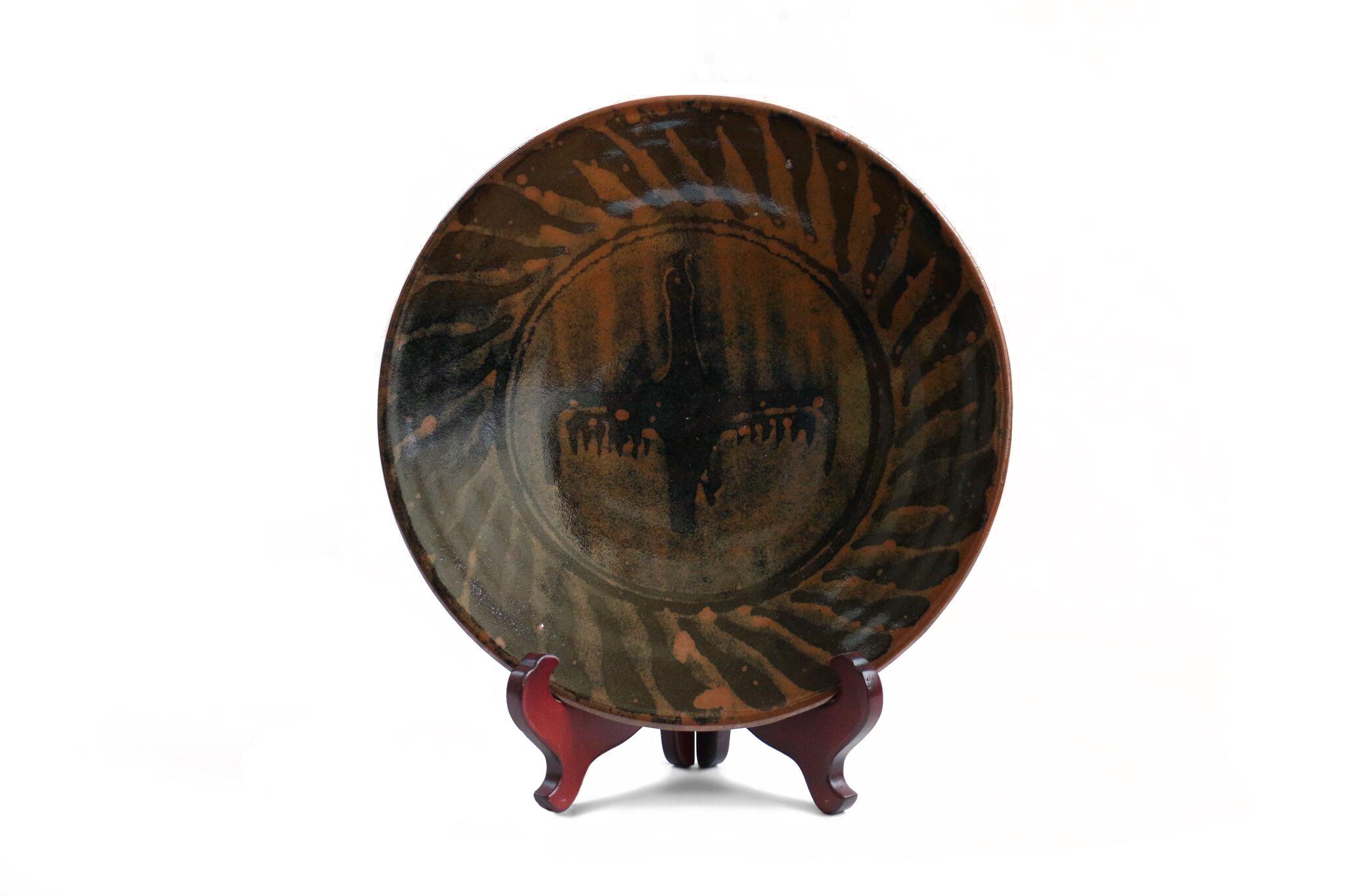 "Bernard Leach   Large Bernard Leach Bird Plate  12.25 x 2.25"""