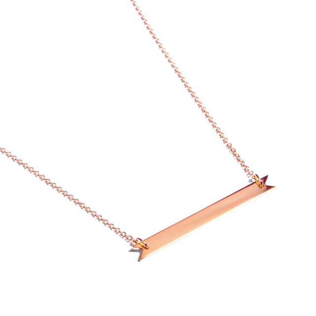 Brandy Pham Rose Gold Long Ribbon Bar Necklace