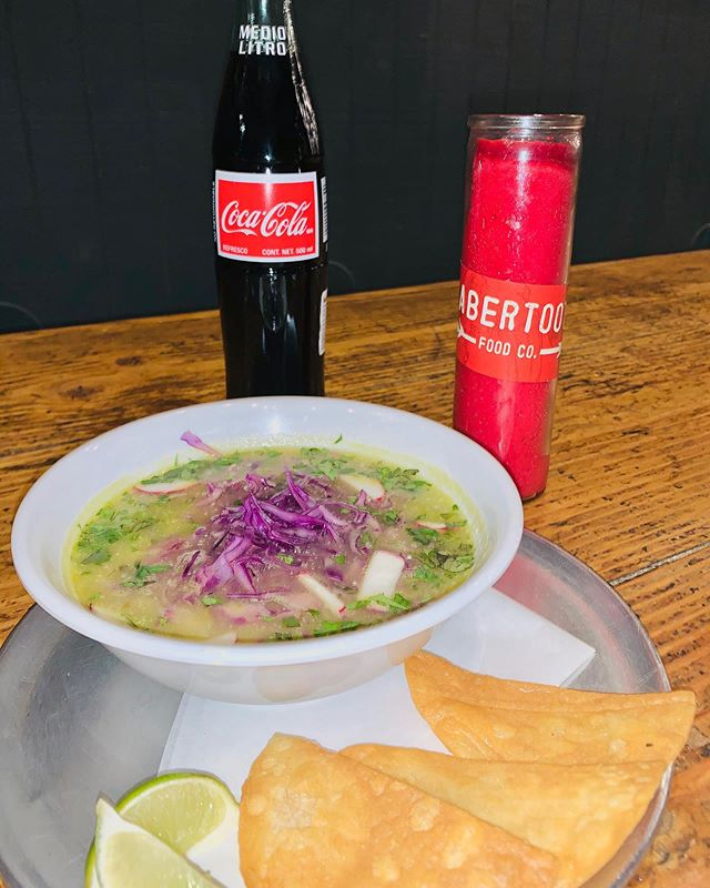 Hey guys!!! Just for tonight starting at 10 pm we will have $6 pozole bowls 🤤 stop by and warm up with a bowl of red or green pozole. Fresh made in house 🌶🌱 #sabertoothfoodco #chalktheblock #jbalvin #itsallgoodep #localdiner