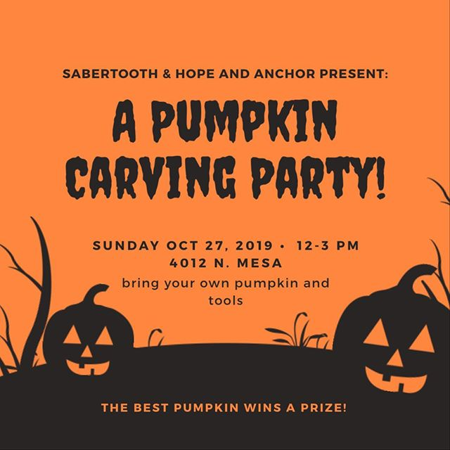 Mark your calendars! We gotta a pumpkin carving party coming up real soon 🎃 #sabertooth #halloween #pumpkinparty