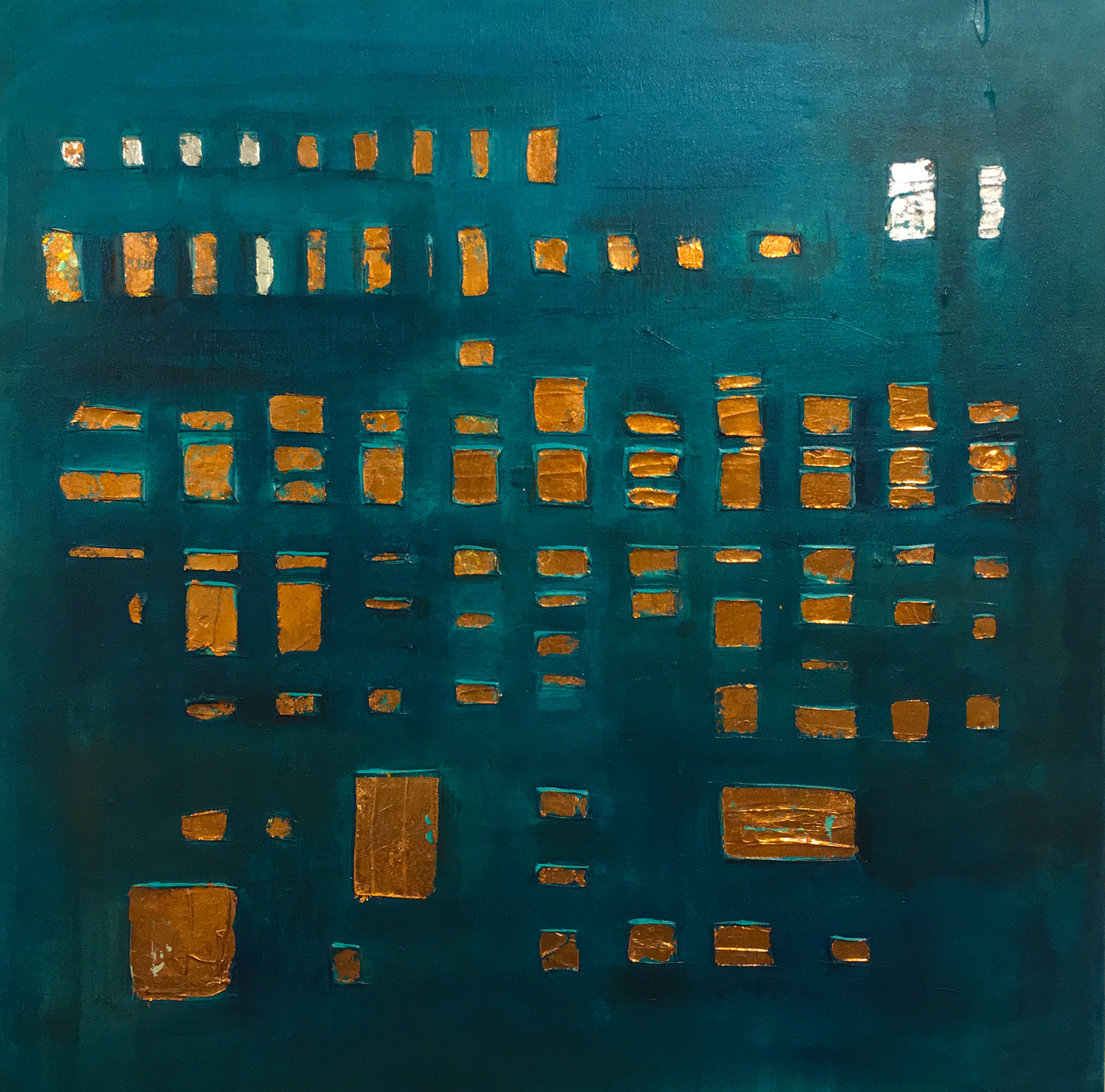 Large Teal Grid  - 36 x 36 (SOLD)