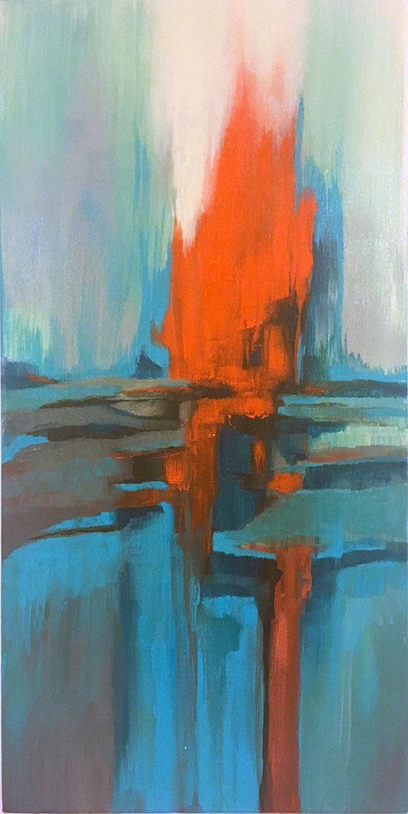 SOLD In Between II 10 x 20 Acrylic and Mixed Media on Canvas