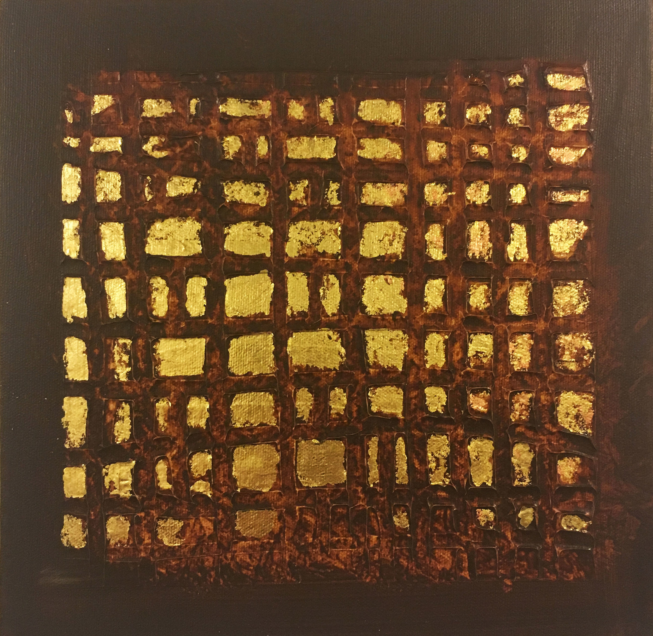 SOLD Brown Grid: 10 x 10 Acrylic, Mixed Media and Gold Leaf on canvas