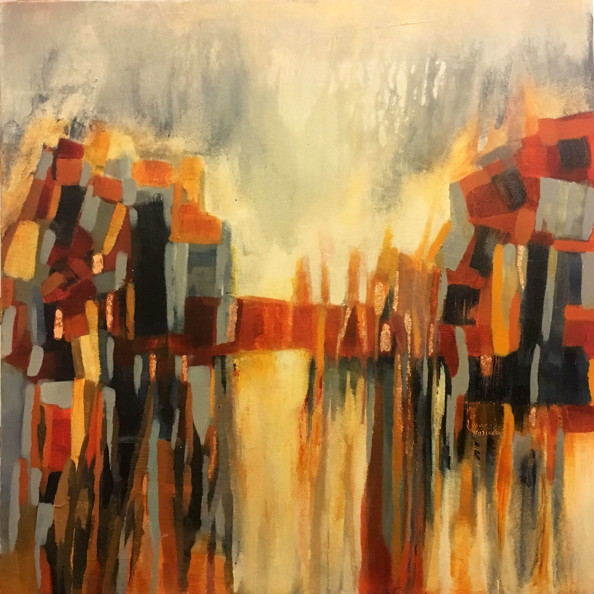 Descending - 20 x 20 Acrylic, Mixed Media and Copper Leaf on Canvas