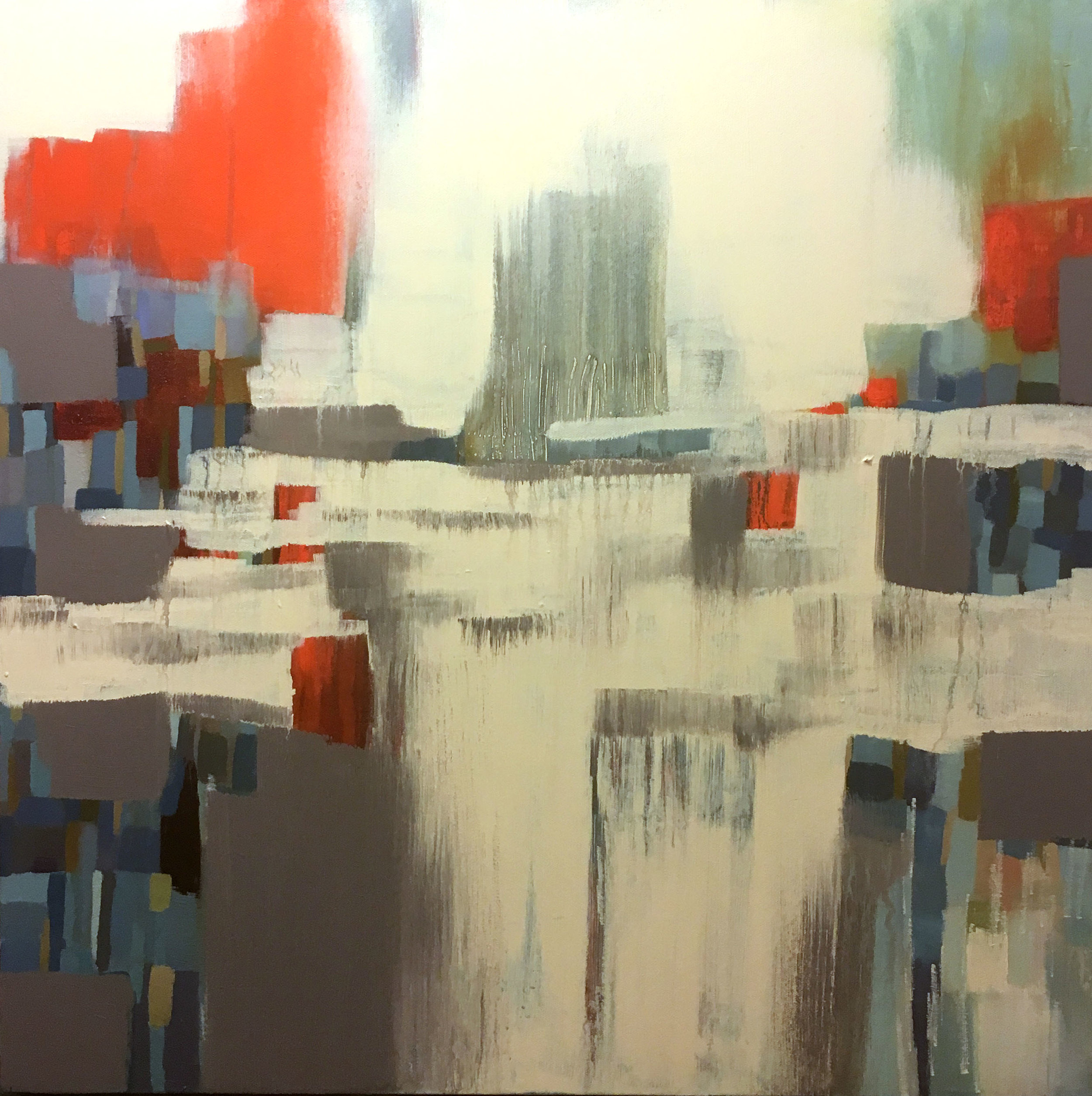 SOLD Layered 24 x 24 Acrylic, Mixed Media and on canvas