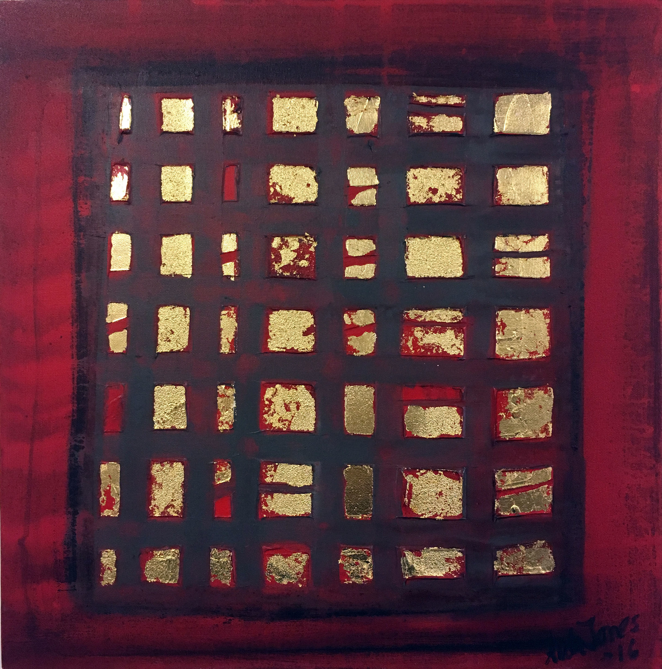 SOLD Red City 18 x 18 Acrylic, Gold Leaf, Mixed Media on Canvas