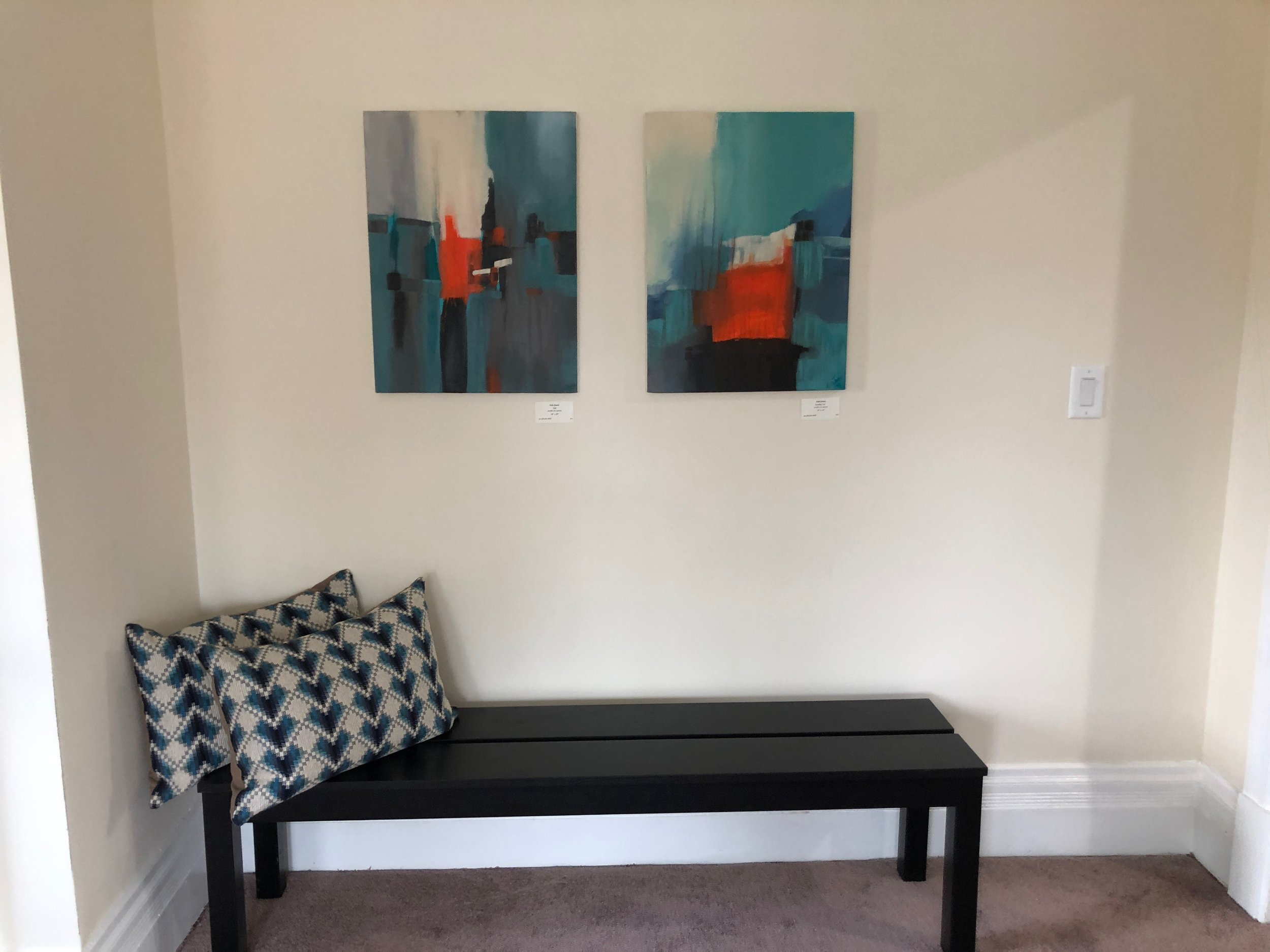 Two smaller abstracts in a Maplewood home