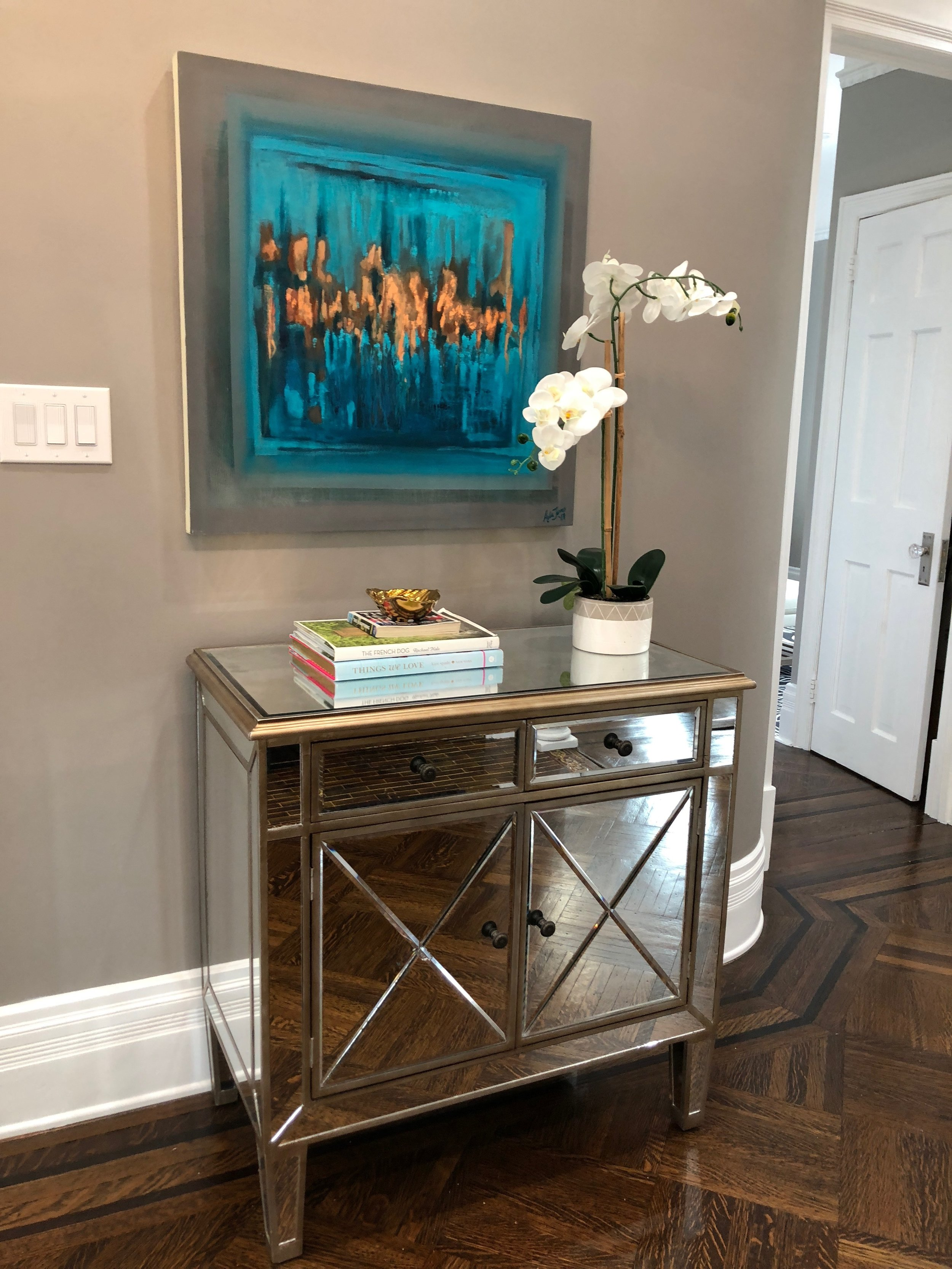 Dance copper leaf painting installed in a Maplewood home
