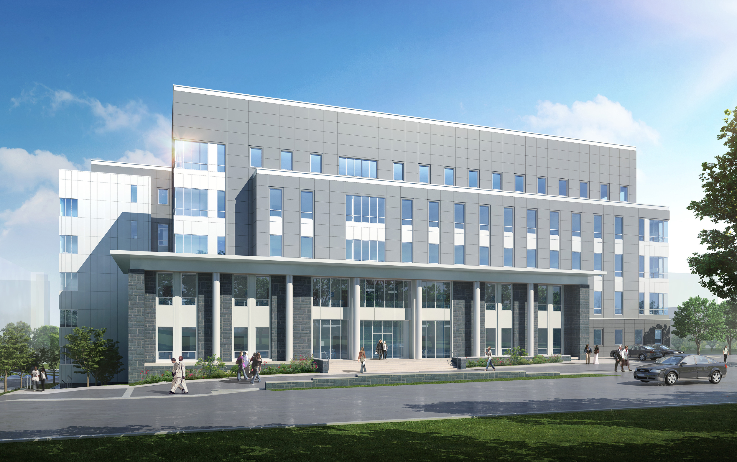 The new construction includes 17 classrooms, a variety of open and closed informal, collaborative learning spaces for both student and faculty in addition to technical, maintenance and other related support services. The project is scheduled to achieve LEED silver rating.