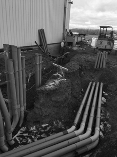 The duck bank outside of the new building. It has used about 500 feet of PVC conduit so far.