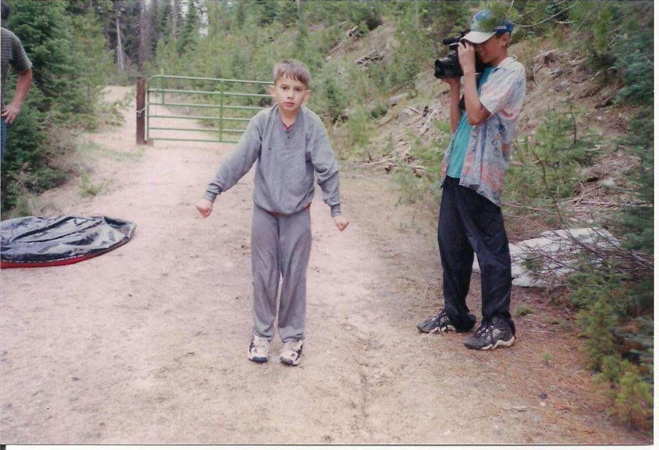 Drew and Nate Garcia shooting one of their home movies. - October, 1997