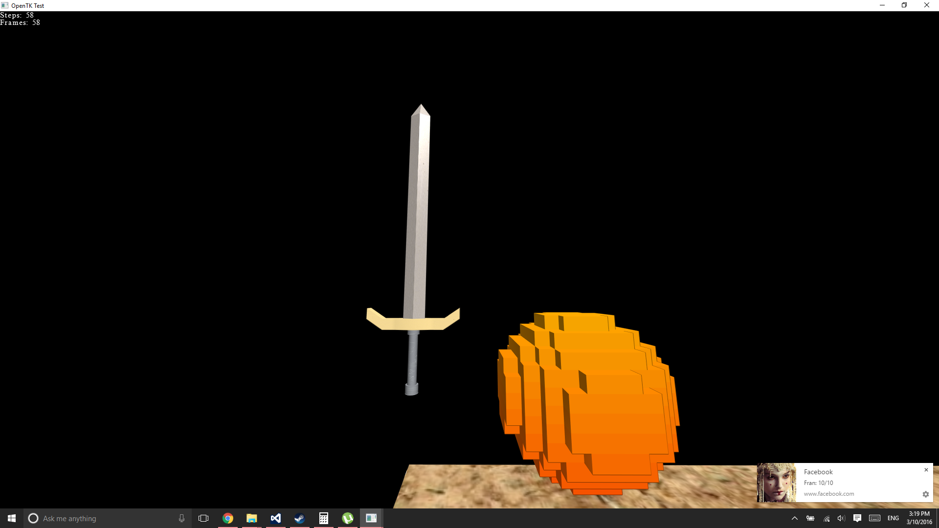 The first voxels and model loading I got working in OpenTK/C#