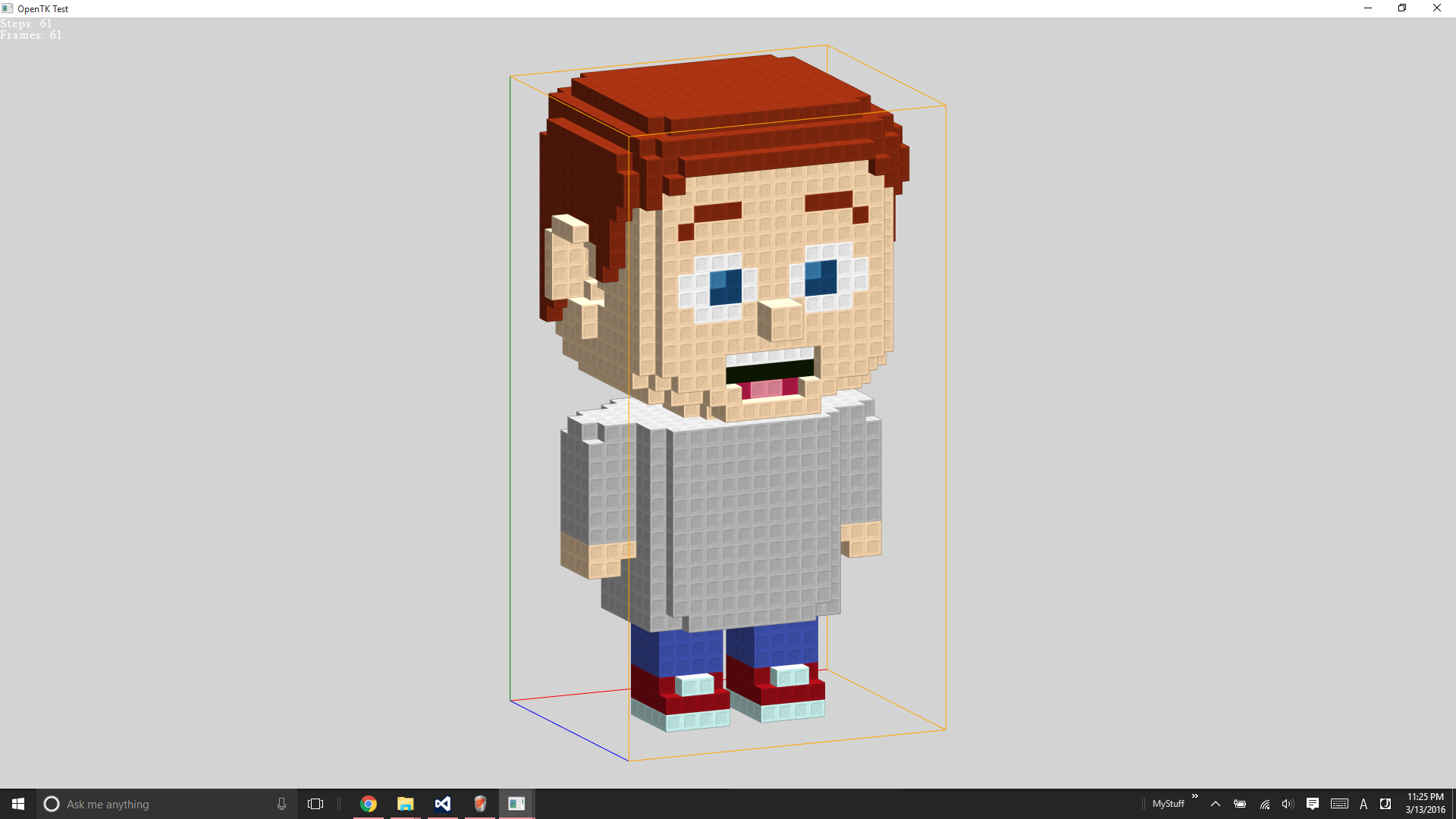 With voxels working I started working on getting some voxel characters animated.