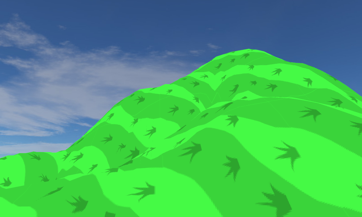 Tried generating a heightmap from a bitmap. Grass texture was made by me, looks pretty terrible.