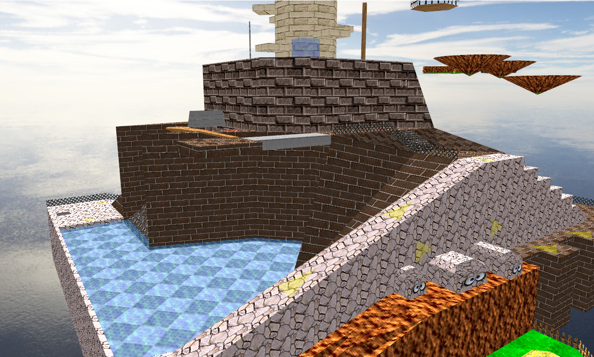 Loaded a model ripped from Super Mario 64. Good ol' Whomp's Fortress.