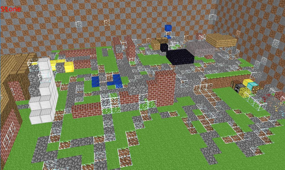 I made it so every time the player resolves collision with a block it would change the block to glass or cobblestone.